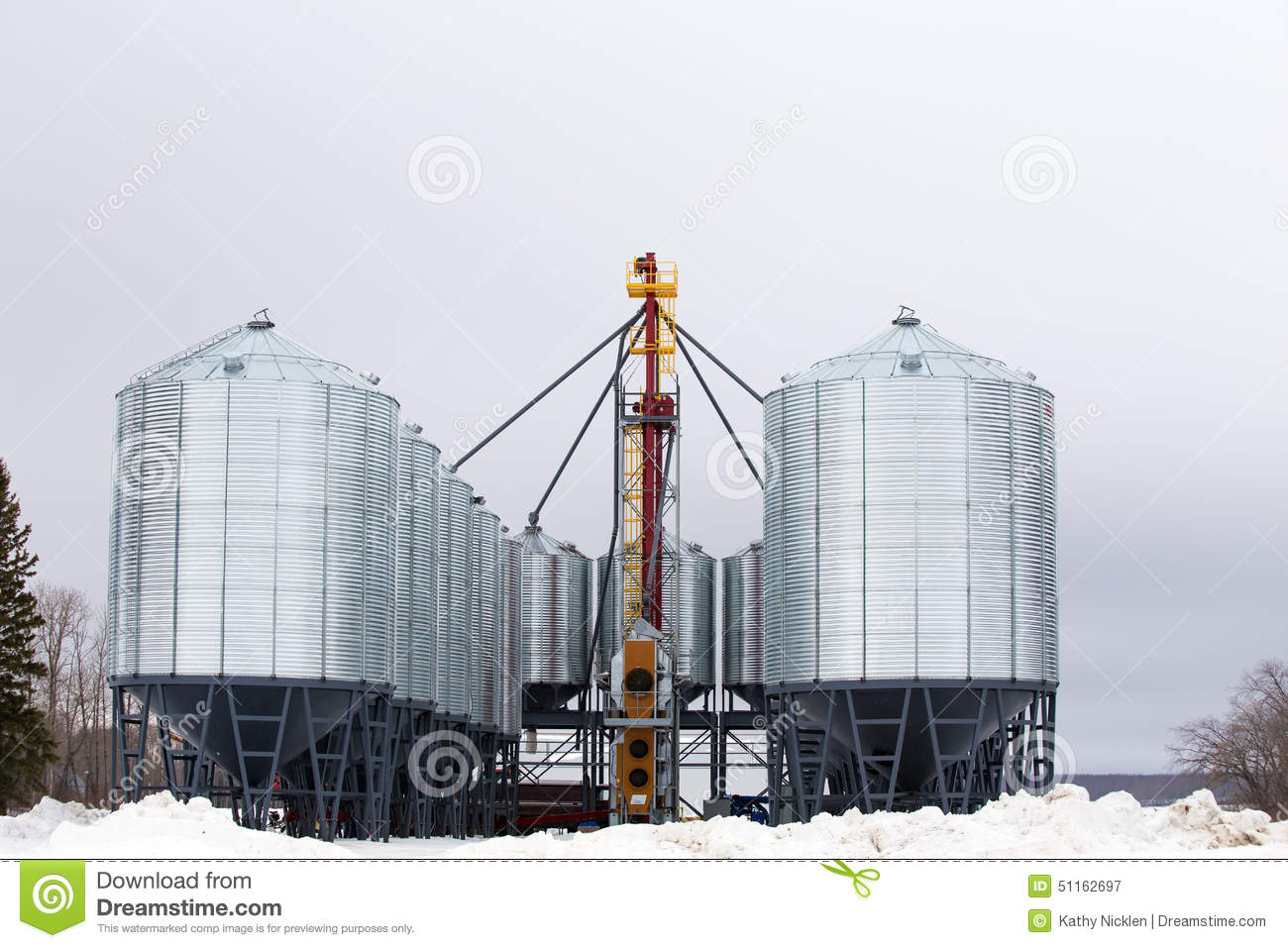 Grain auger and steel bins stock image  Image of storage