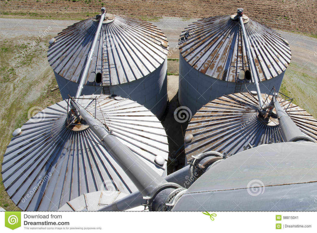 Grain Bin Roofs stock image  Image of silo, auger, bins