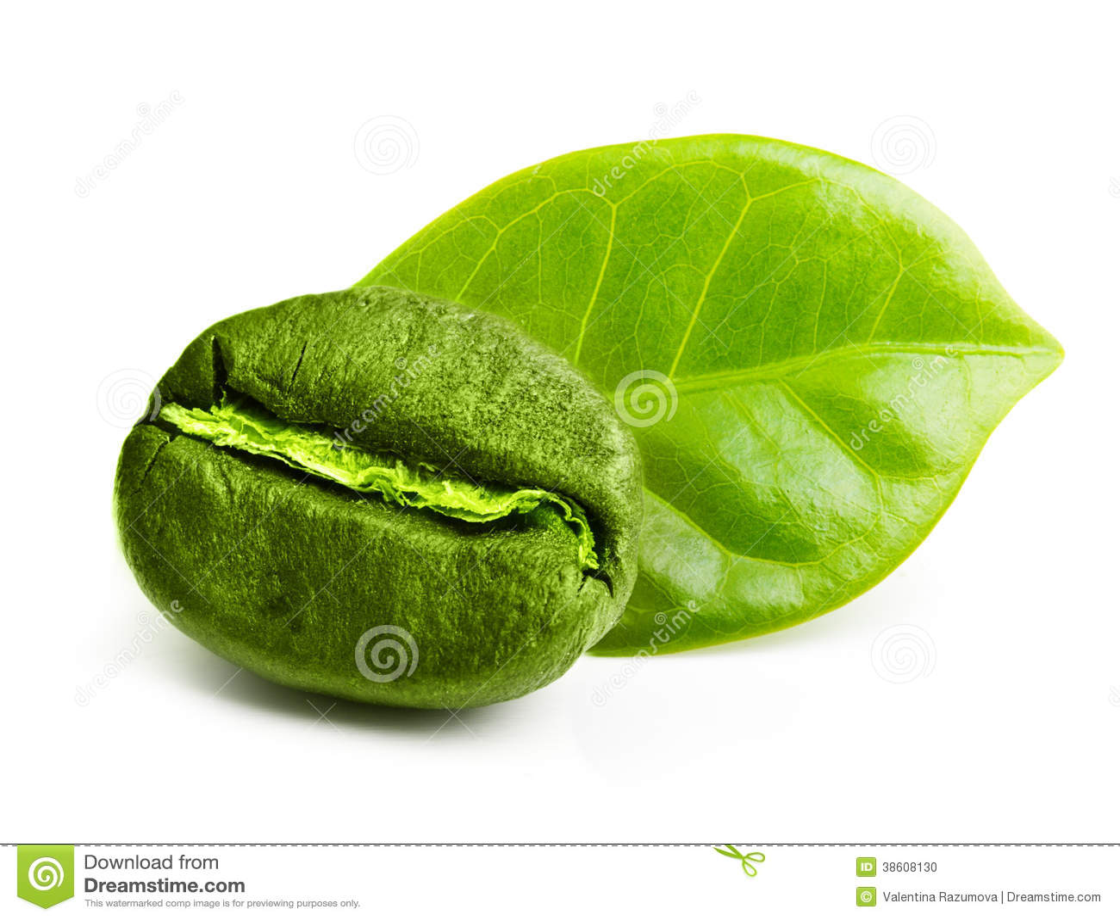 Grain de café vert avec la feuille