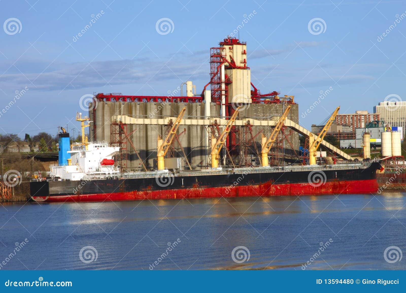 Grain Elevators Amp Cargo Ship Stock Photo Image 13594480