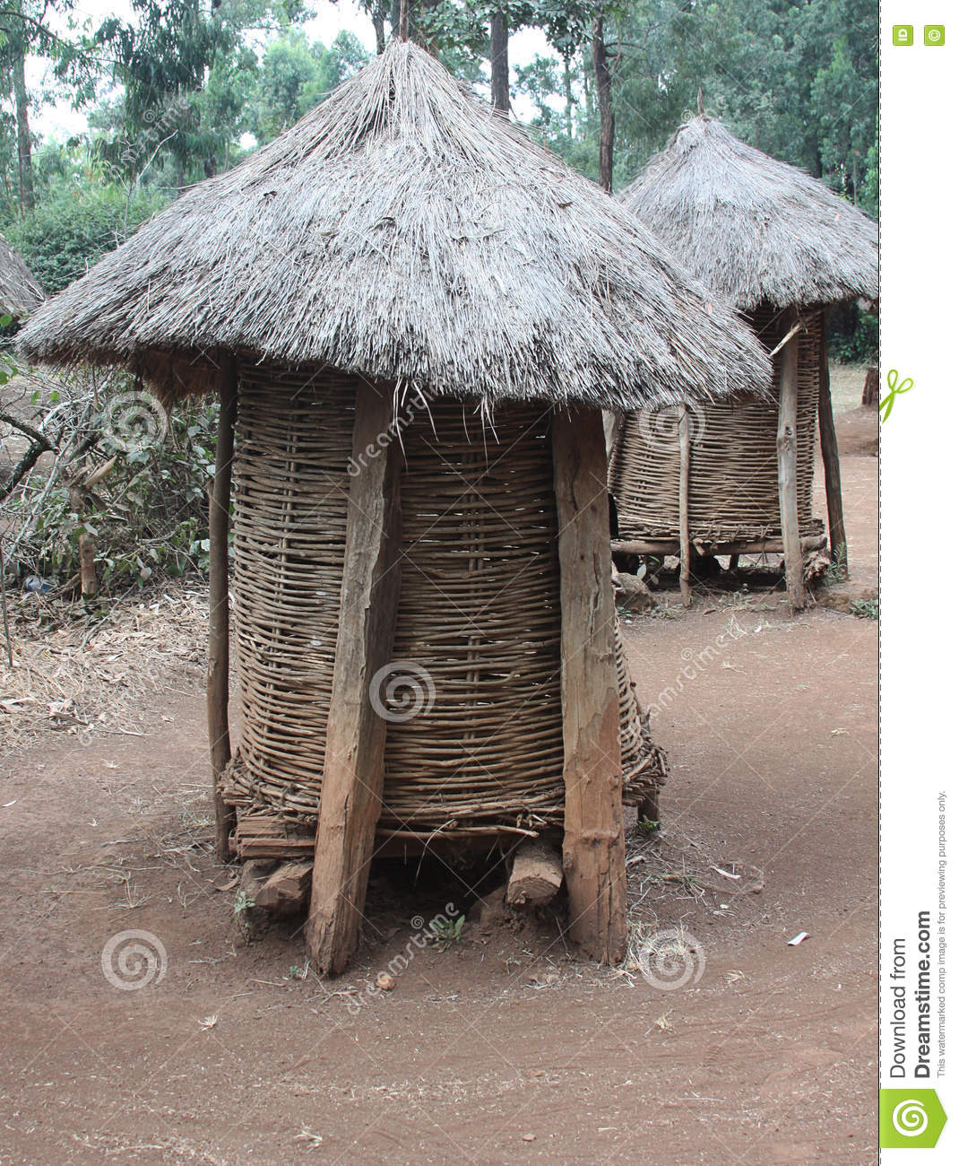 Grain storage huts in traditional kenyan village