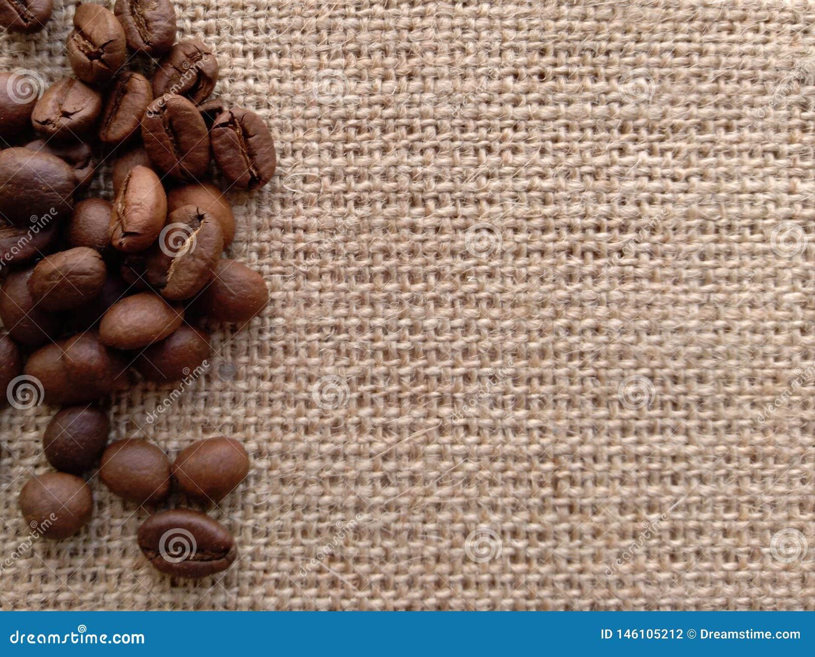 Graines de café sur le byurlap Surface disponible