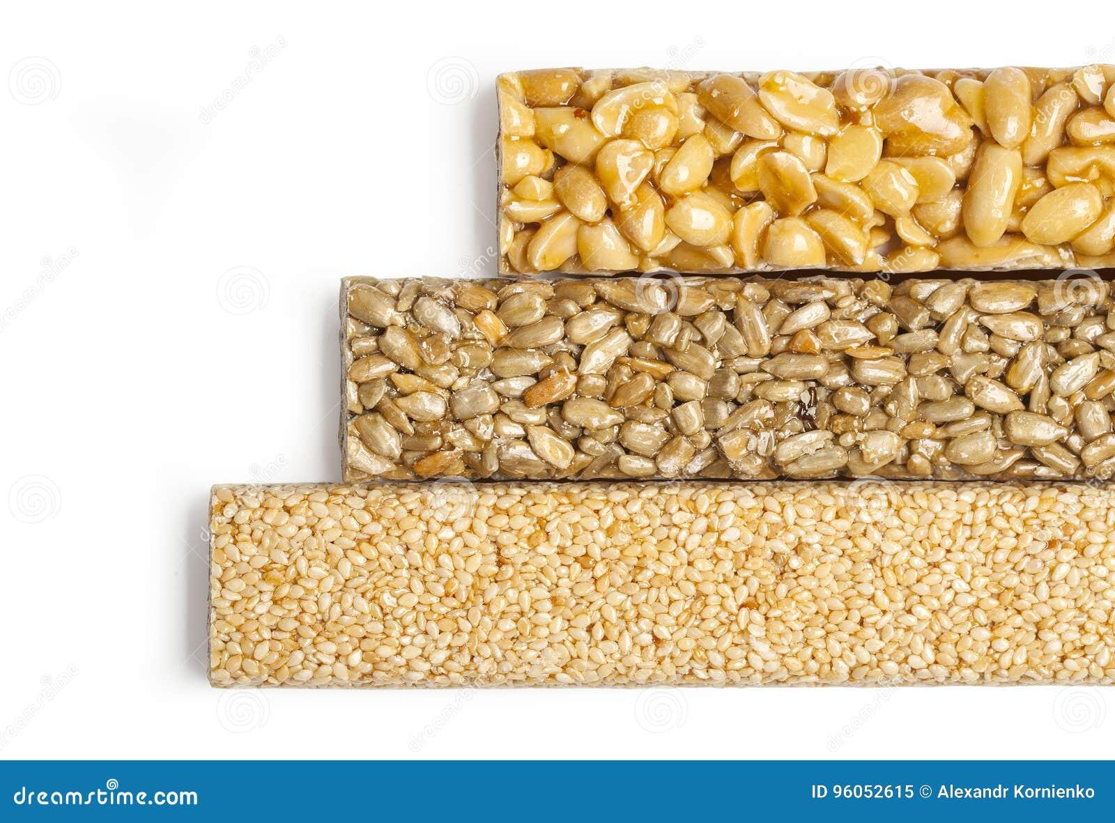 Graines de tournesol, sésame, arachides en sirop de sucre