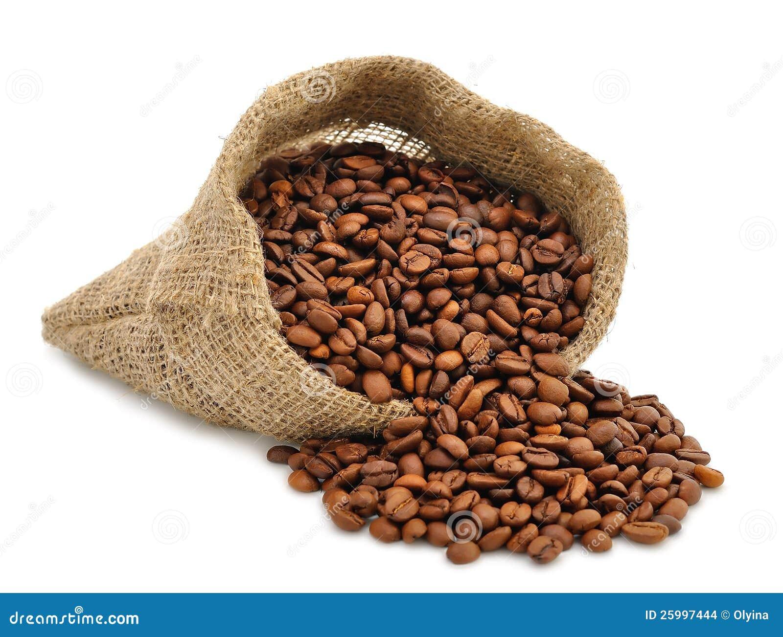 Extrêmement Grains De Café Dans Un Sac Images stock - Image: 25997444 YP21