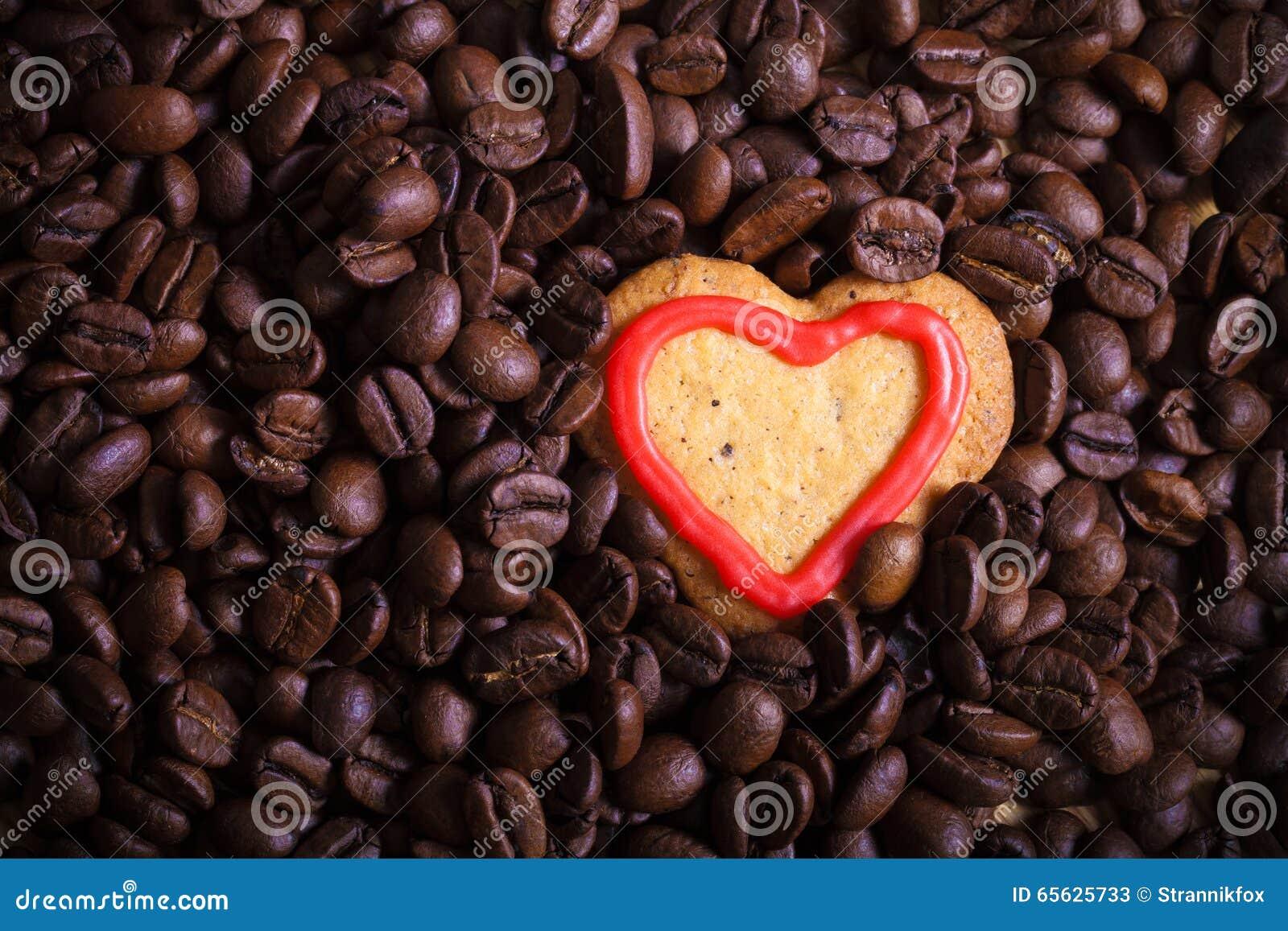 Grains de café avec le biscuit pour le fond toned