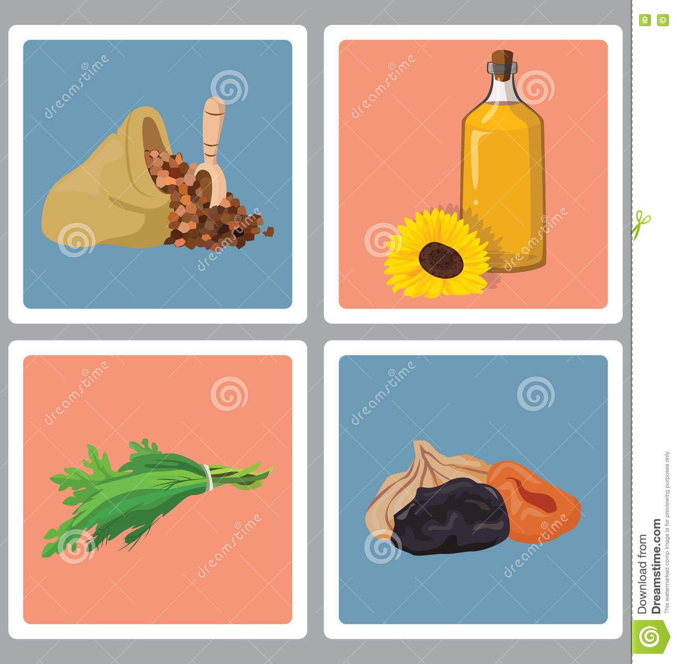 Grains, herbs, oil and dried fruits - useful products