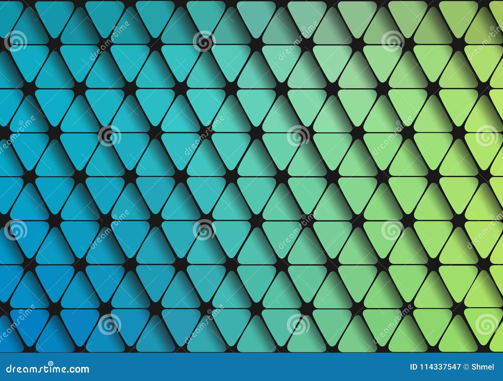 Grait Vert Bleu De Papier Peint Geometrique Plat De Triangle