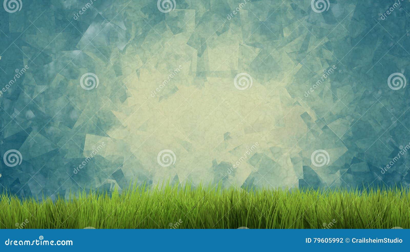 A grama 3d da natureza da grama verde do fundo rende