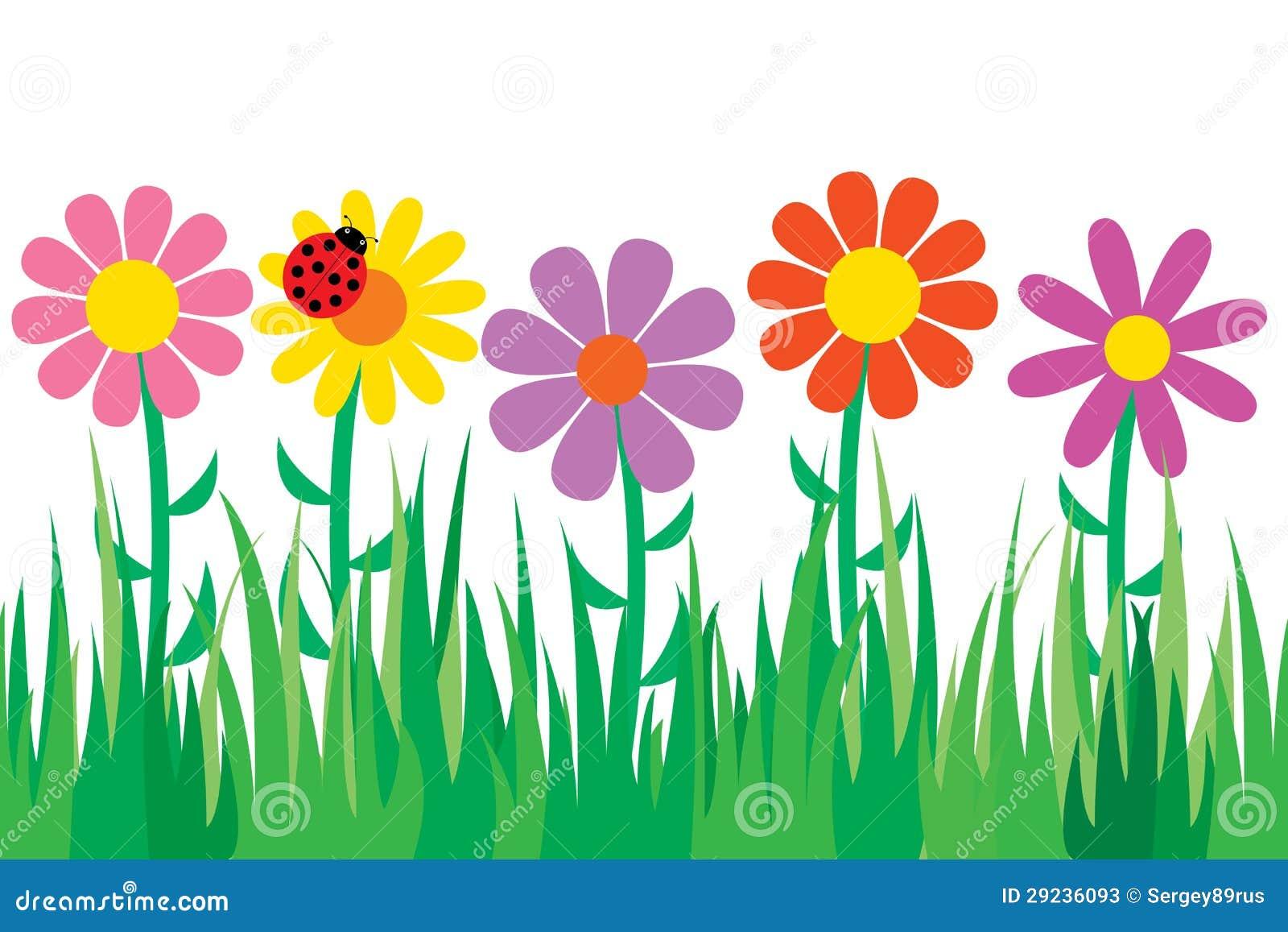 Download Grama e flores sem emenda. ilustração do vetor. Ilustração de gramado - 29236093