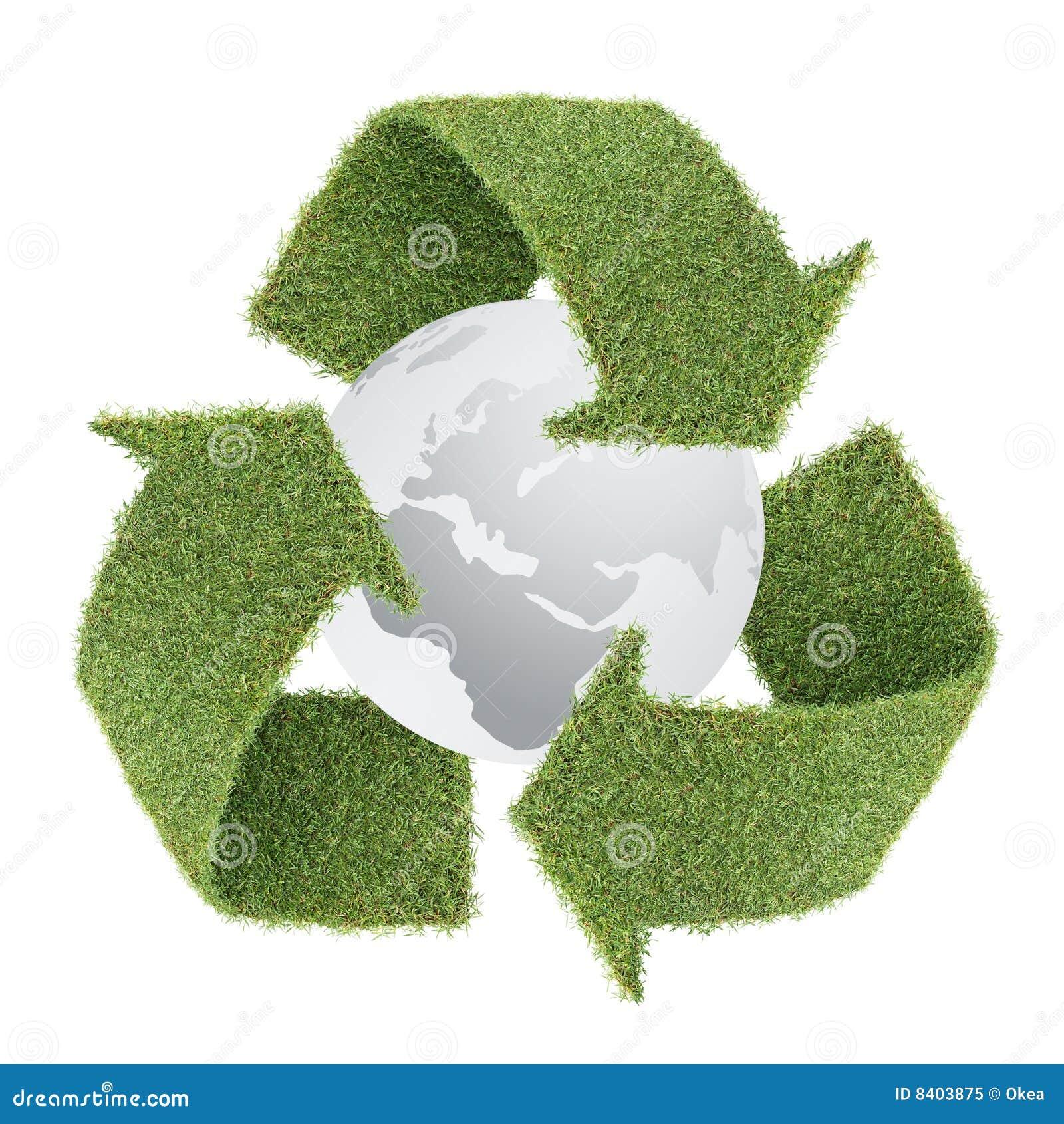 A grama recicl o símbolo com globo