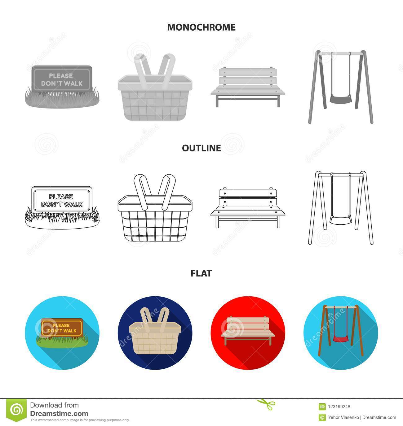Gramado com um sinal, uma cesta com alimento, um banco, um balanço Ícones ajustados da coleção do parque no plano, esboço, estilo