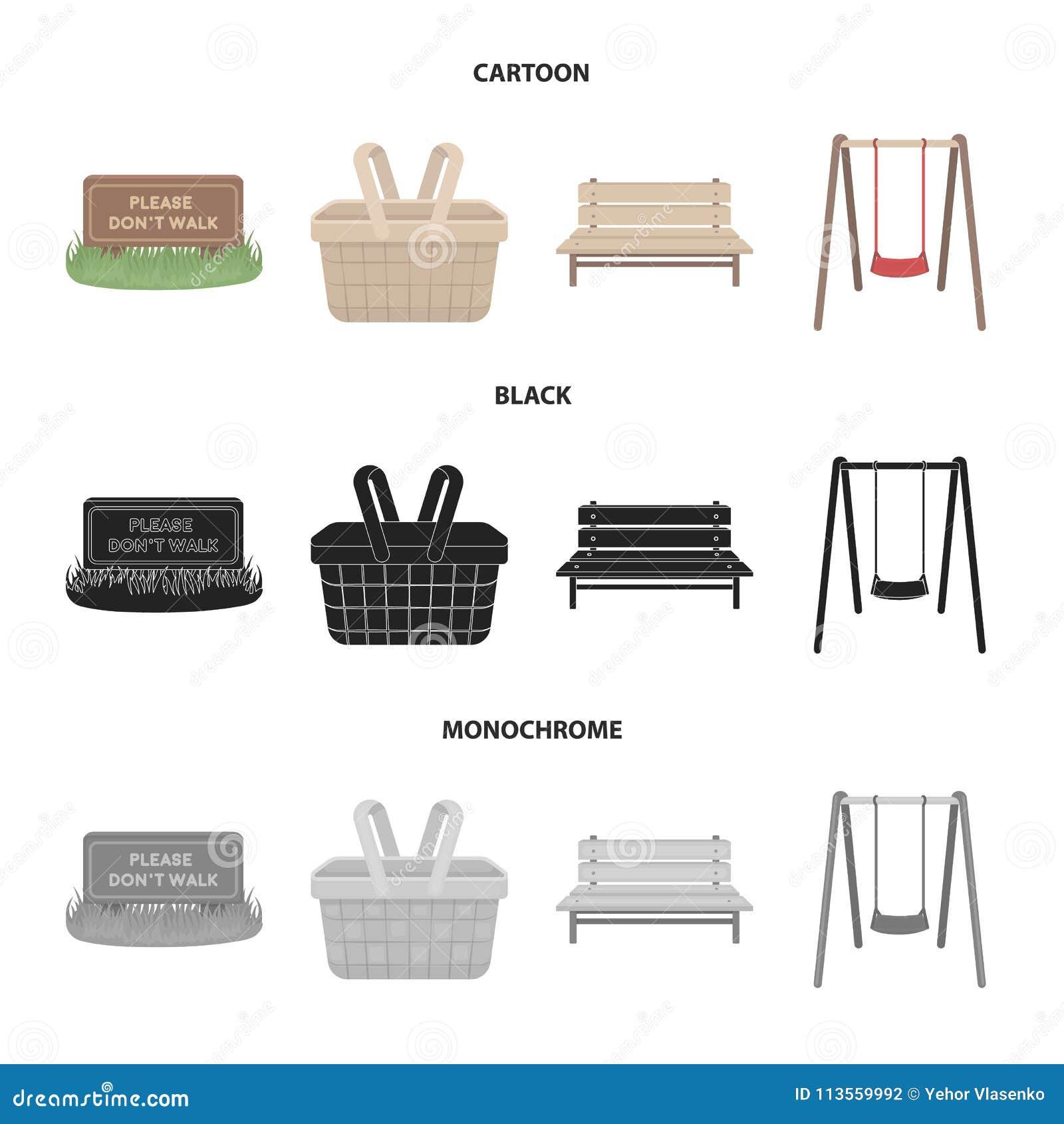 Gramado com um sinal, uma cesta com alimento, um banco, um balanço Ícones ajustados da coleção do parque nos desenhos animados, p