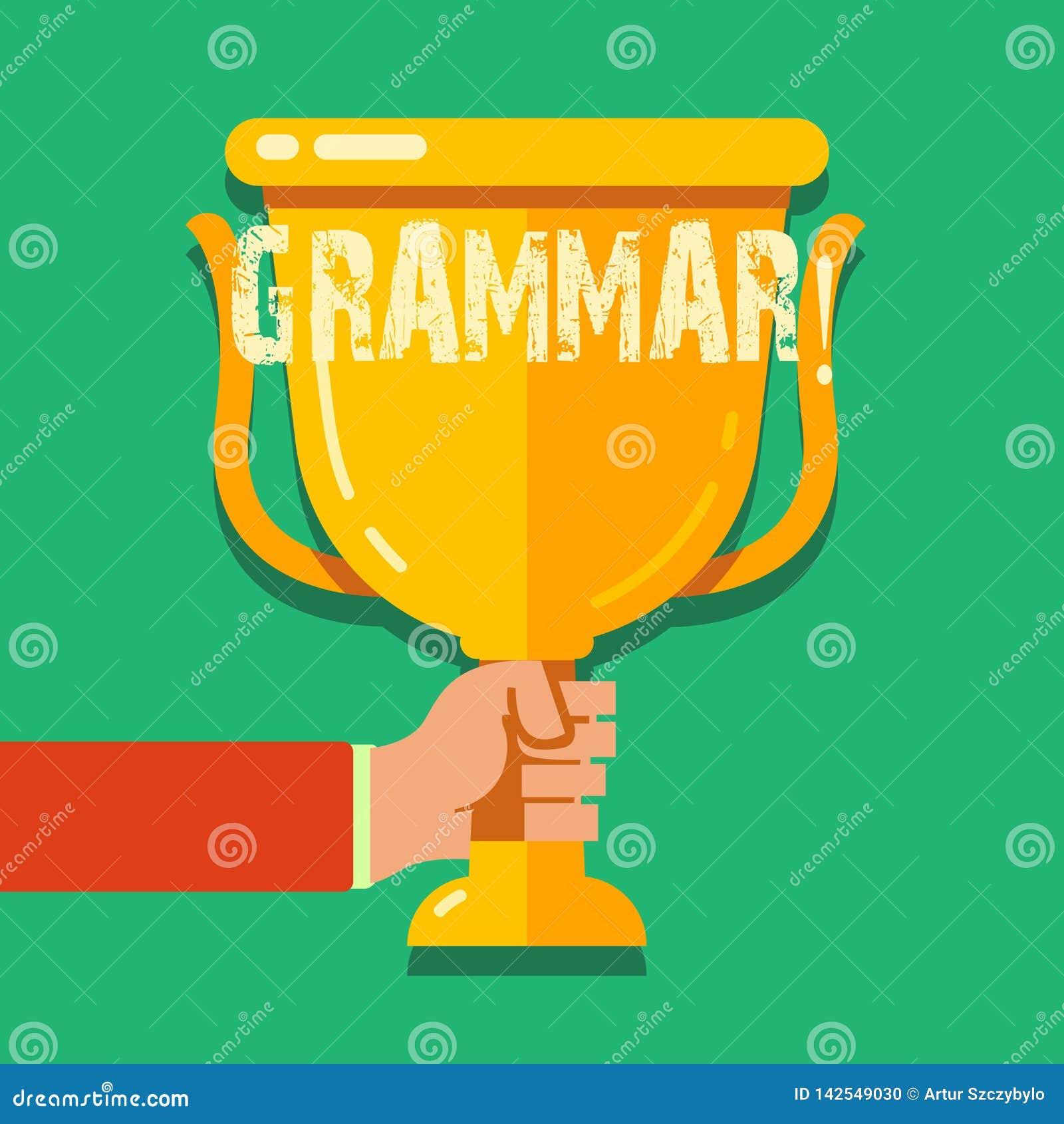 Grammatik för ordhandstiltext Affärsidéen för system och strukturen av skrivande regler för ett språk räcker innehavmellanrumet