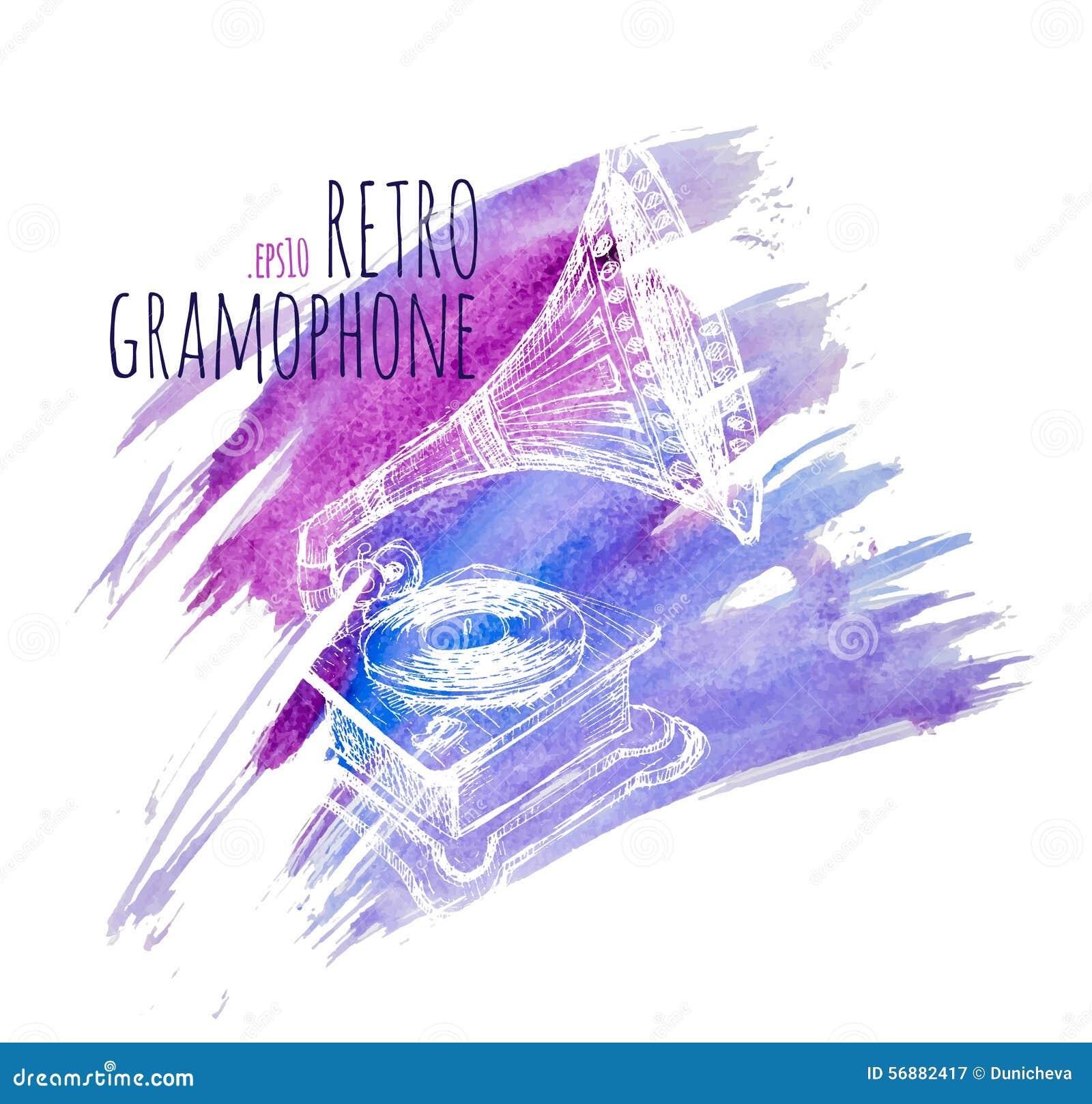 Grammofono in un retro stile alle cartoline d annata, ai gioielli ed a molto più