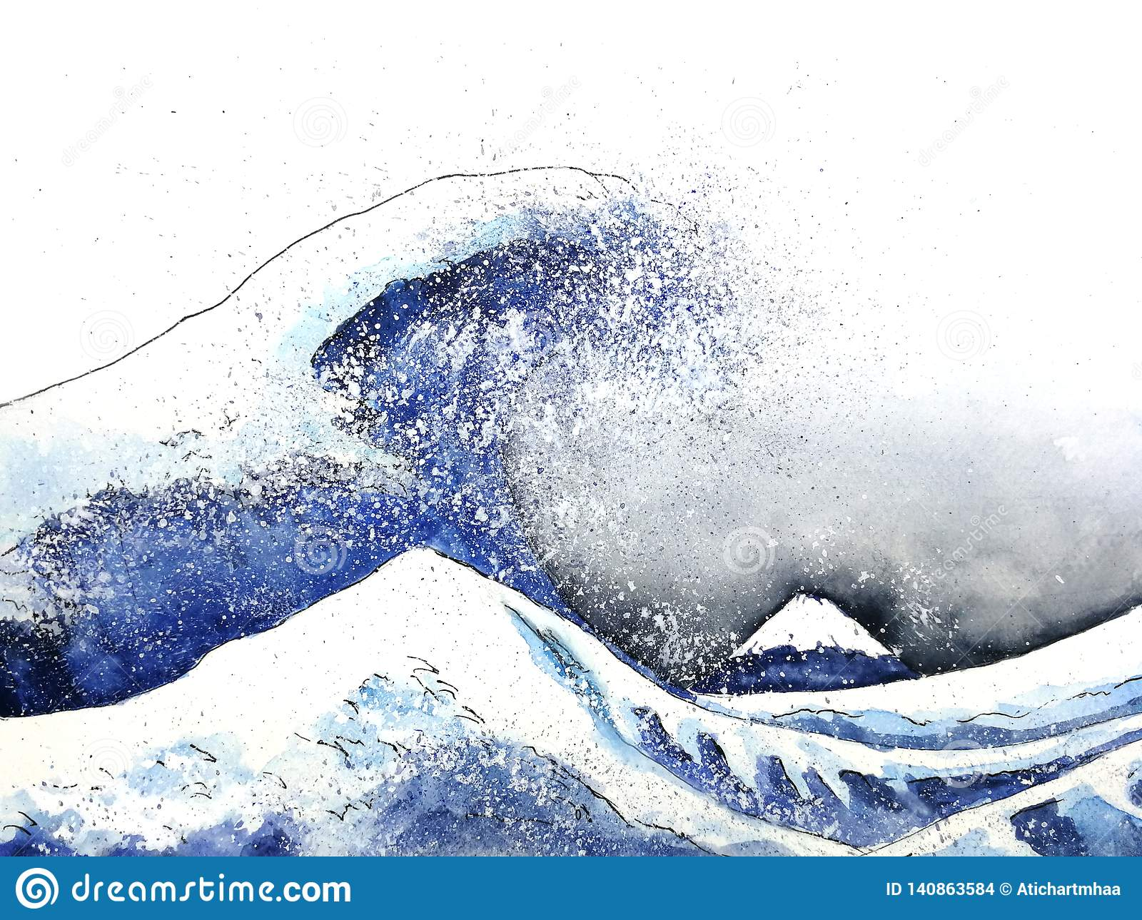 Gran arte japonés de la onda Estilo de la acuarela Mano drenada