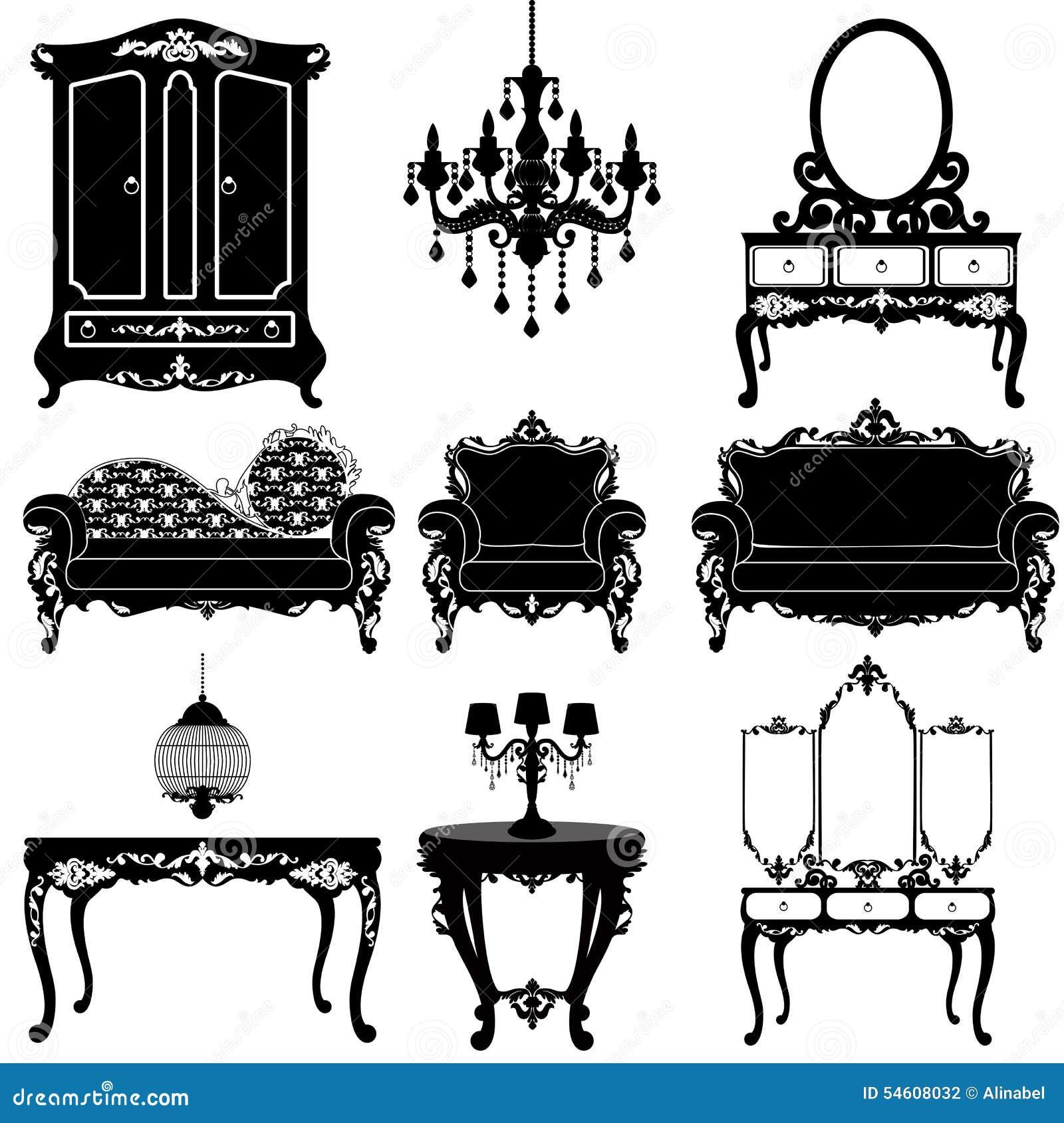 Gran Colecci N Del Vector De Muebles En Ilustraci N Del Vector  # Muebles Cuento De Hadas