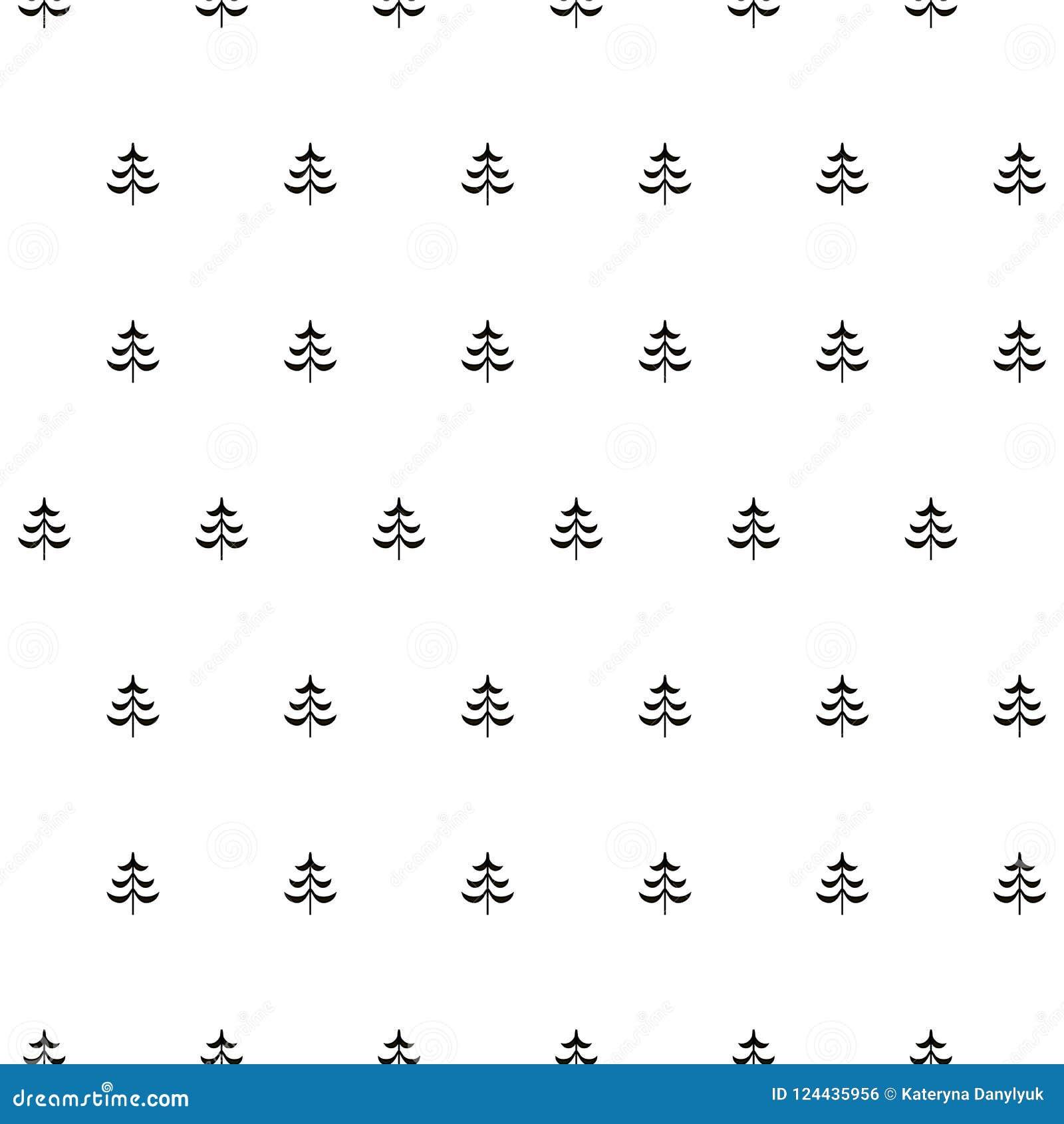 Gran stiliserad sömlös monokrom modell för träd