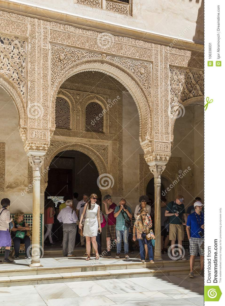 Granada, Alhambra: Facade Of The Comares Palace Editorial Photo