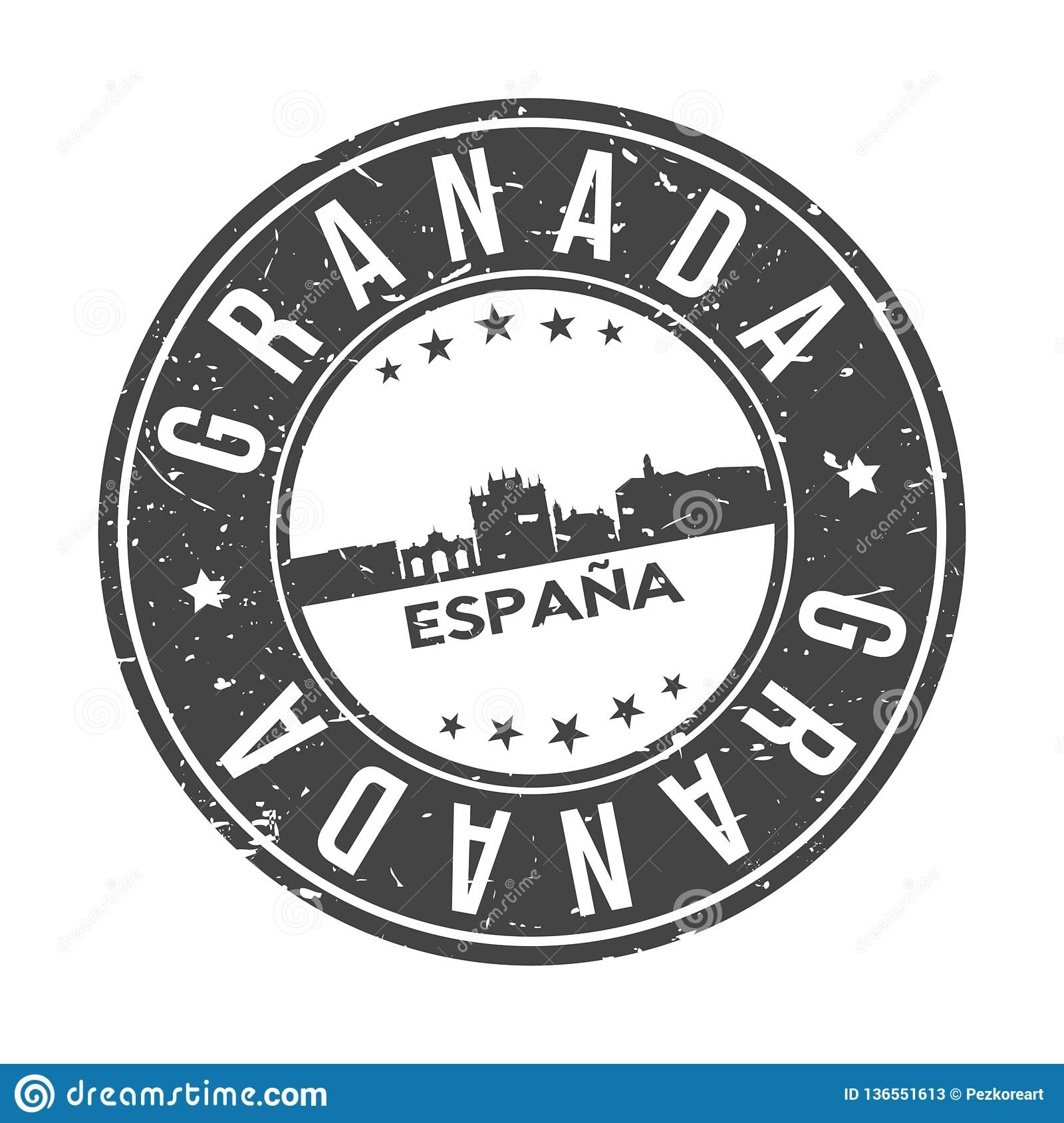 Granada Andalucia Spain Round Button City Skyline Design Stamp Vector Travel Tourism