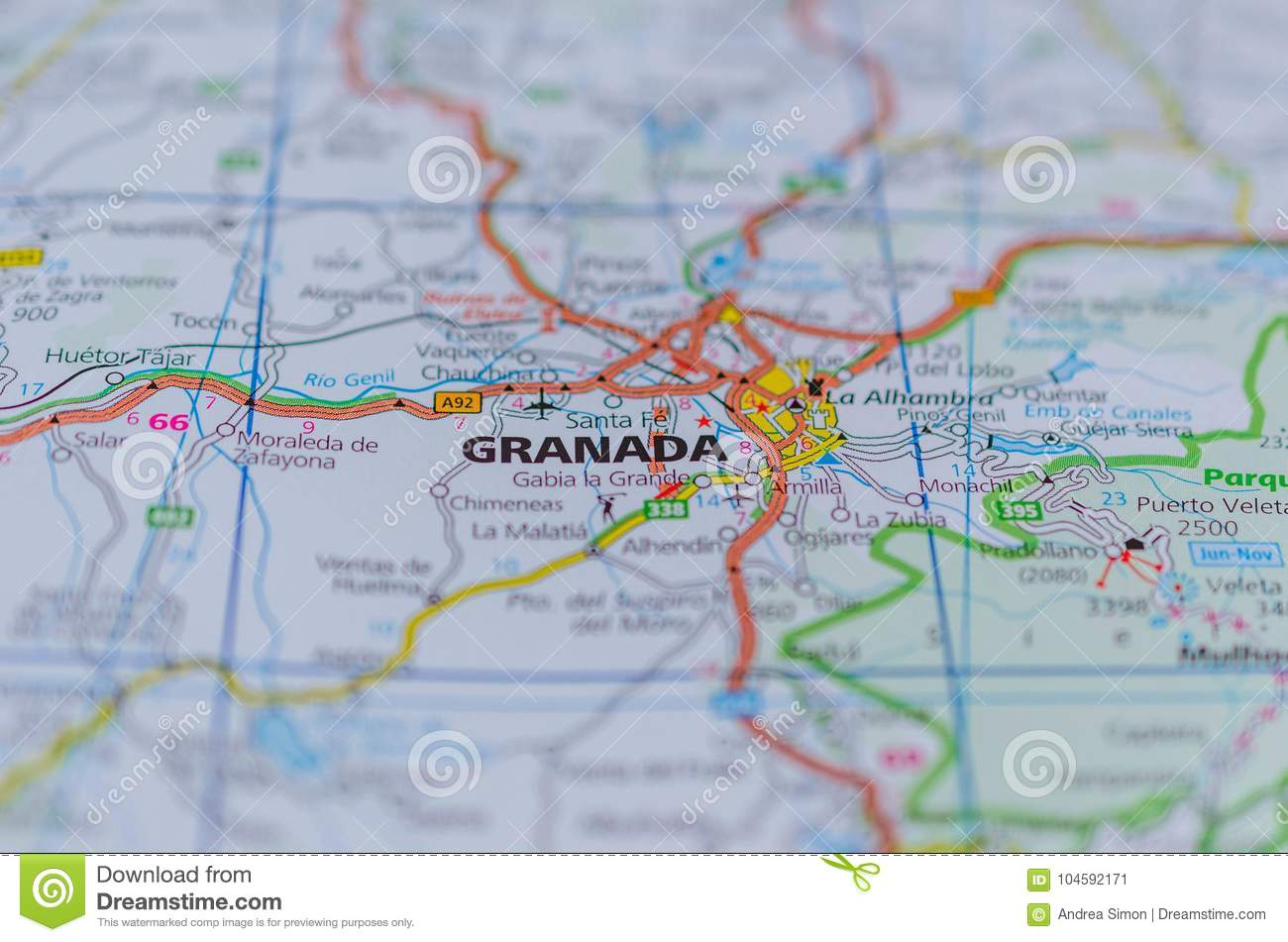 Political Map Of Spain 2017.Granada On Map Stock Image Image Of Macro Political 104592171