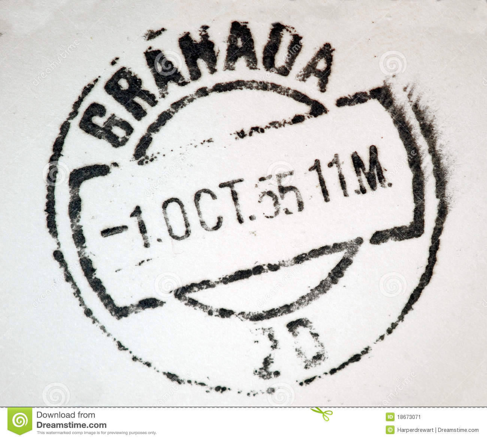 granada spain postmark stock image image 18673071