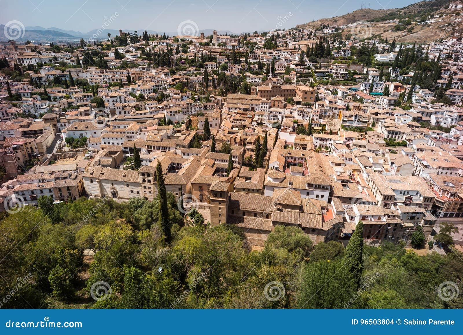 Granada, View Of The Albaicin And Sacromonte Stock Photo