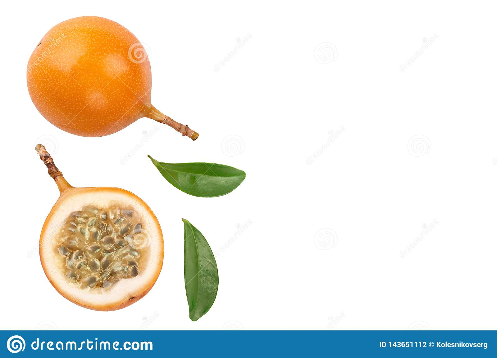 Granadilla or yellow passion fruit with leaf isolated on white background with copy space for your text. Top view. Flat