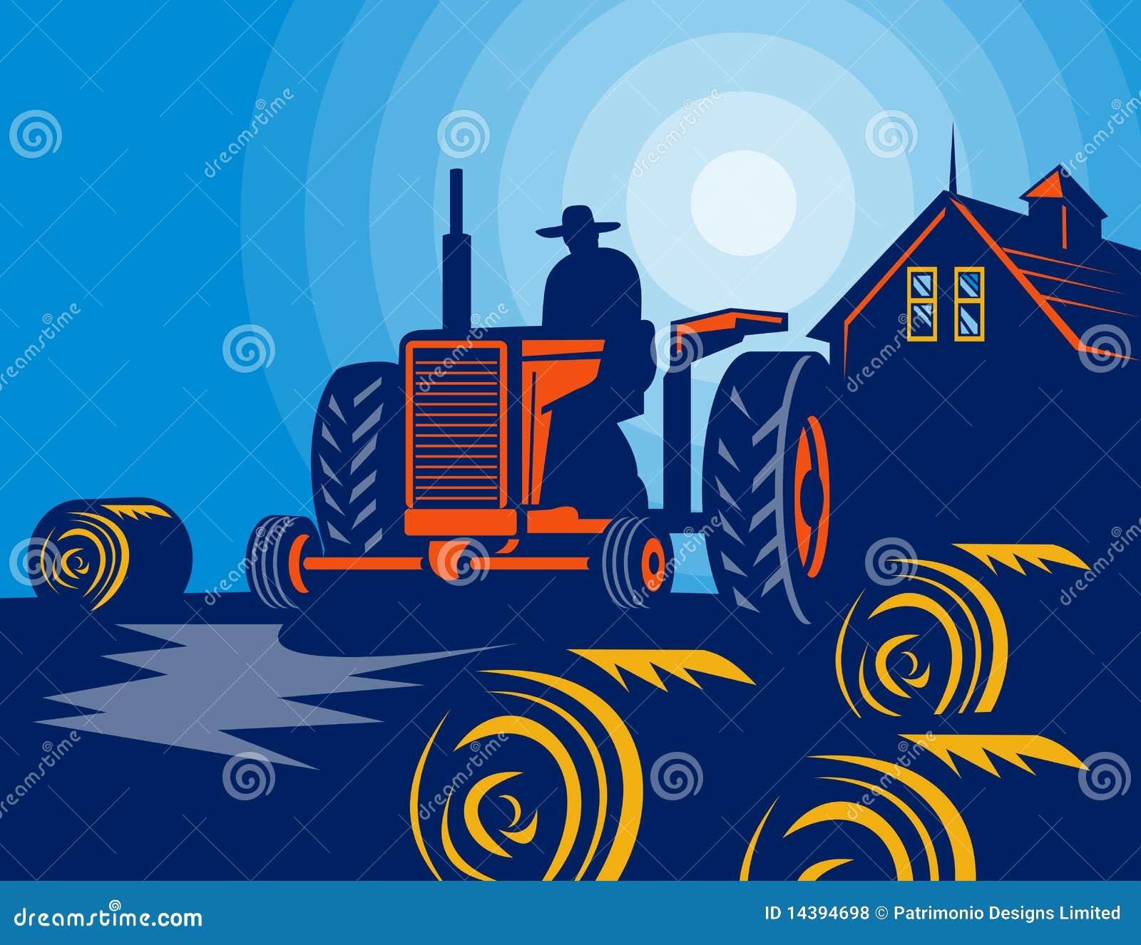 Granaio delle balle di fieno del trattore del coltivatore for Piani di fattoria del granaio
