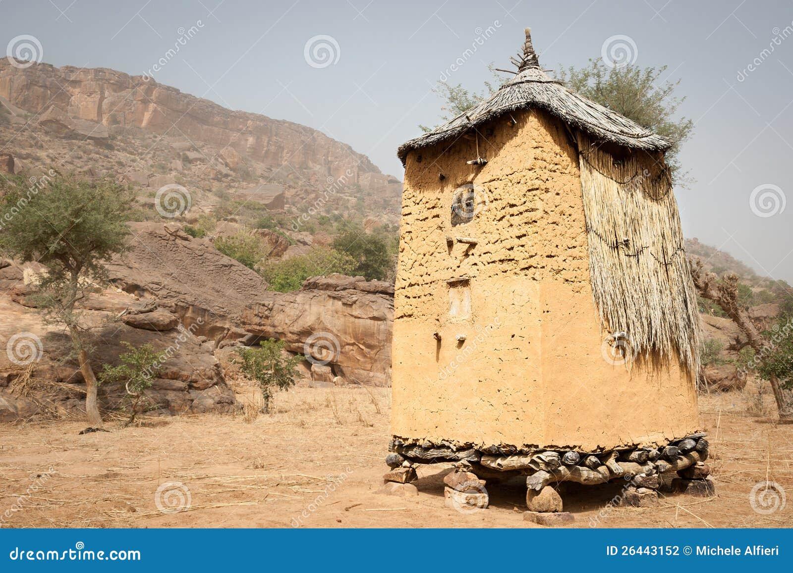granary in a dogon village mali africa stock photo