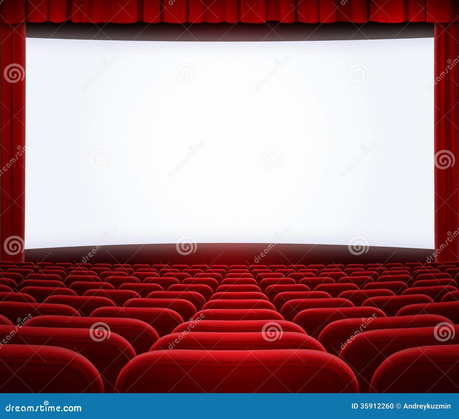grand cran de cin ma avec le rideau et les si ges rouges photo stock image du pr sentation. Black Bedroom Furniture Sets. Home Design Ideas