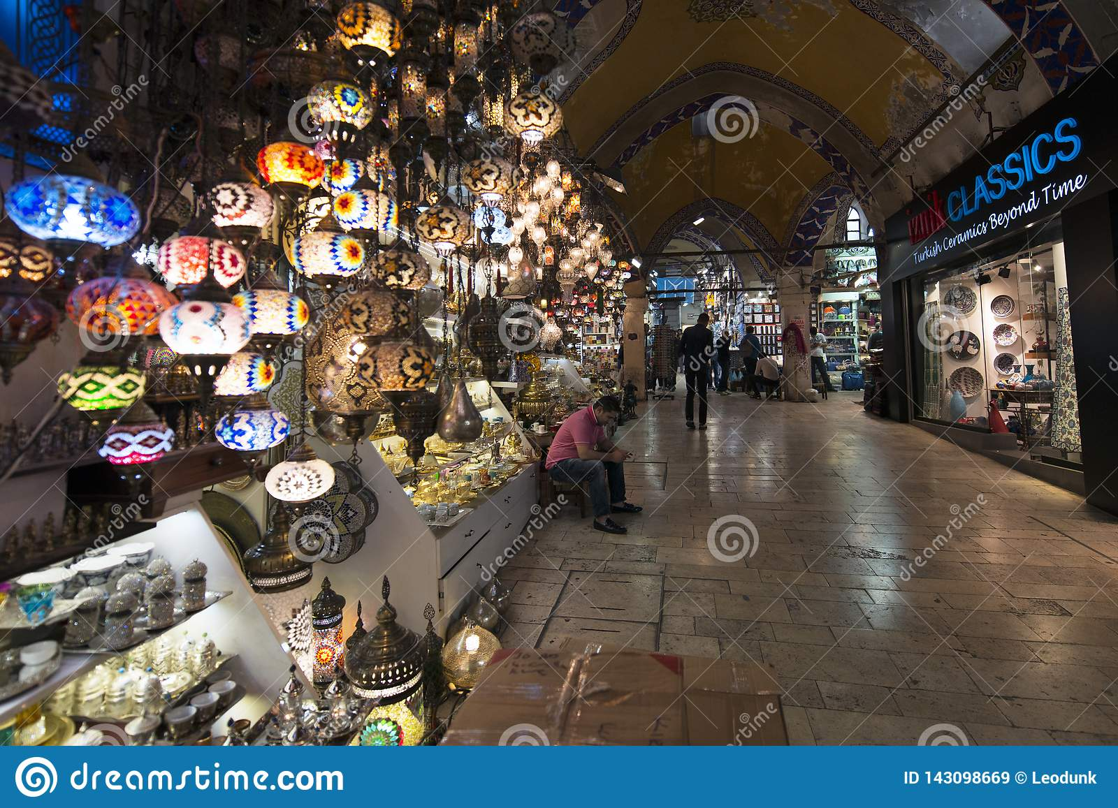 Grand Bazaar, one of the oldest shopping mall in history. This market is in Istanbul, Turkey