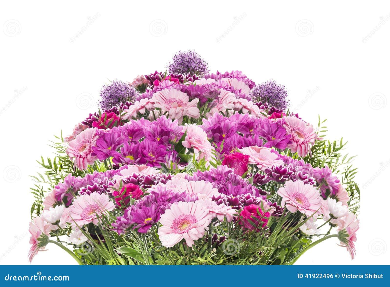Grand Bouquet De Fleur Avec Les Fleurs Roses D 39 T D 39 Isolement Photo Stock Image 41922496