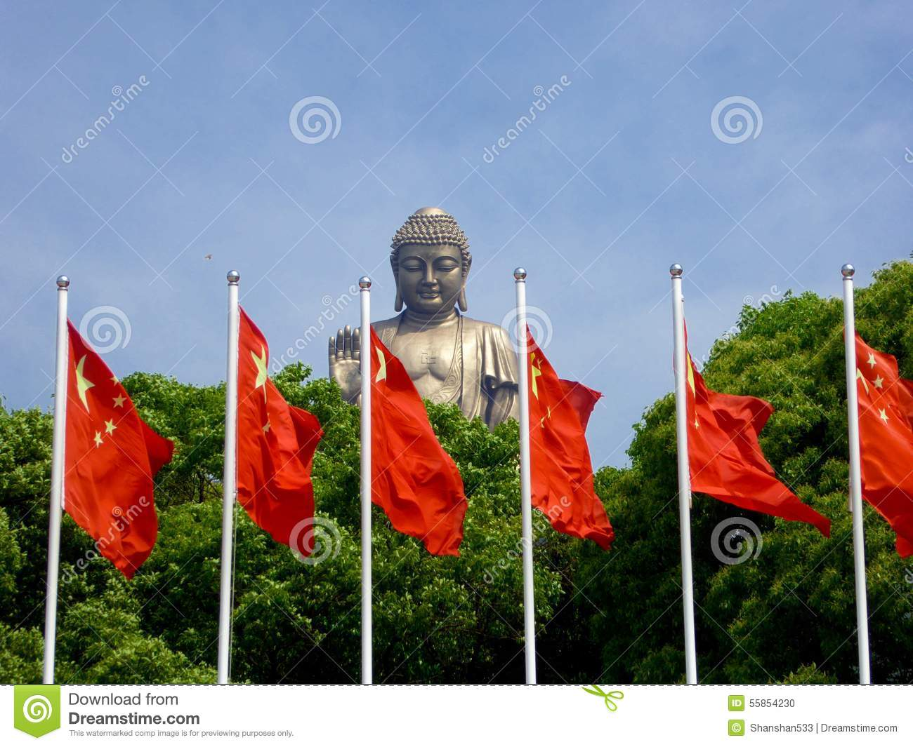 Grand Buddha Statue Lingshan Flags Front Giant Bronze Blue Sky White Clouds Background Row Chinese At China