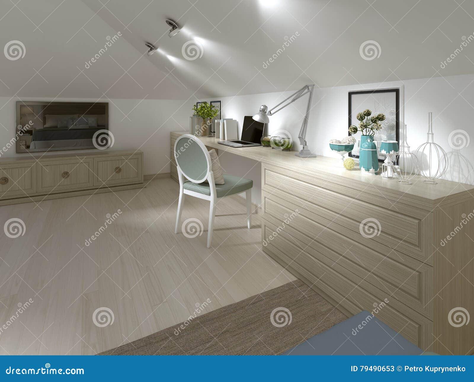 Grand bureau de travail avec la chaise dans la chambre à coucher