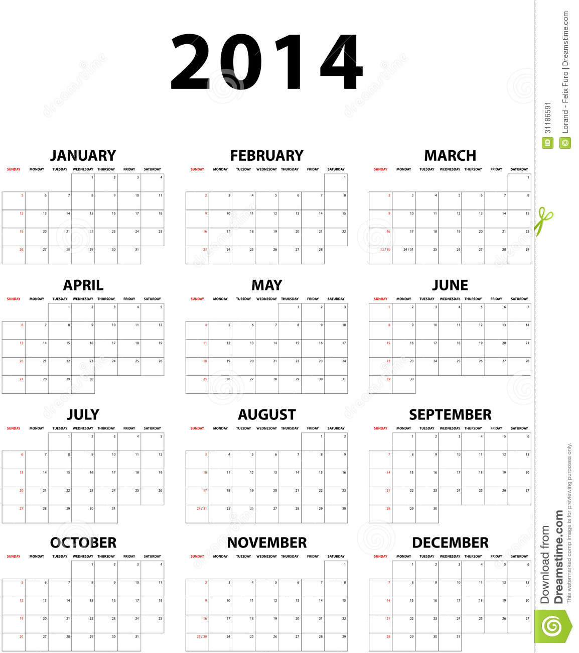 Grand Calendrier Mural Pour 2014 Image Stock Image 31186591