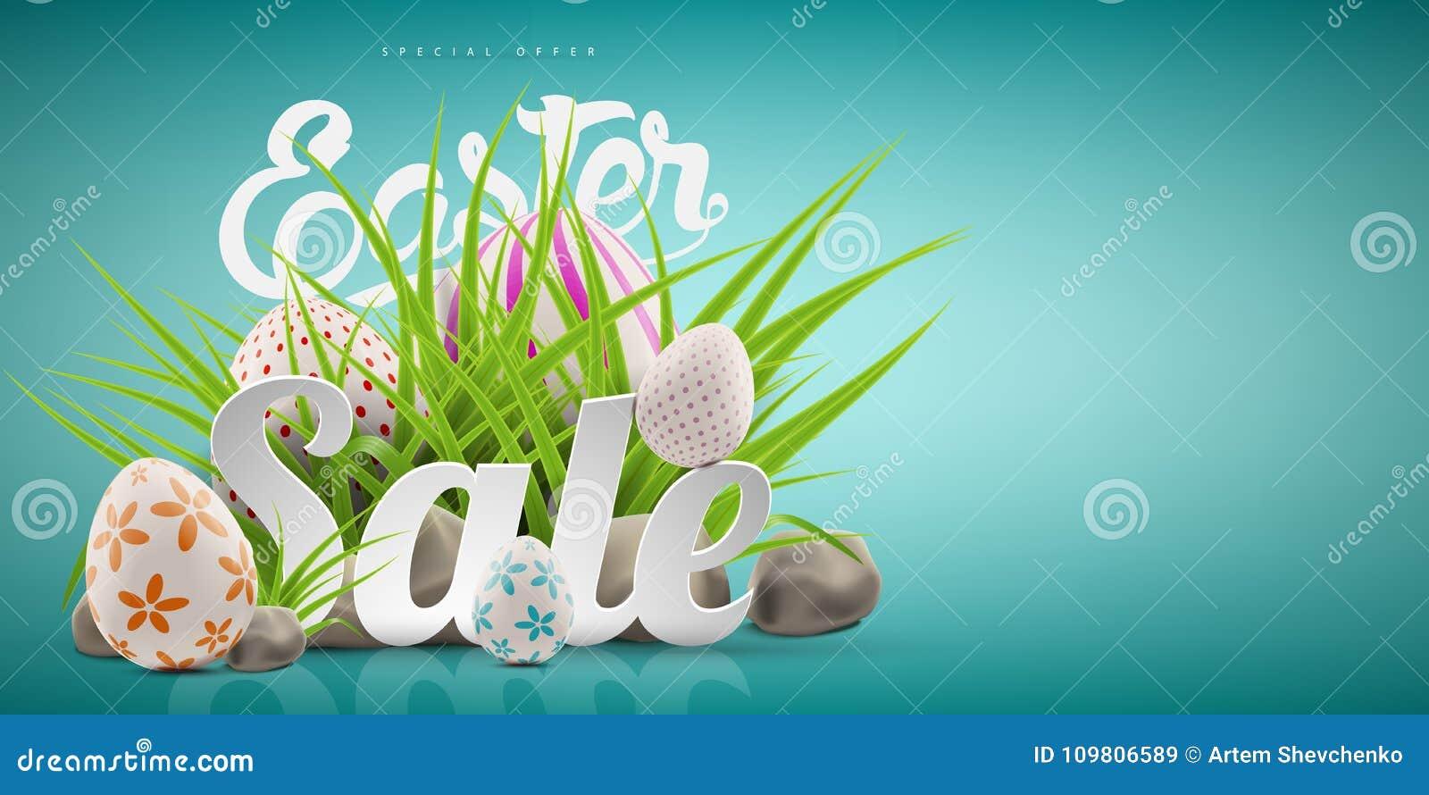 Grand calibre de fond de bannière de vente de Pâques avec l offre énorme de remise, l herbe verte, les pierres et les oeufs