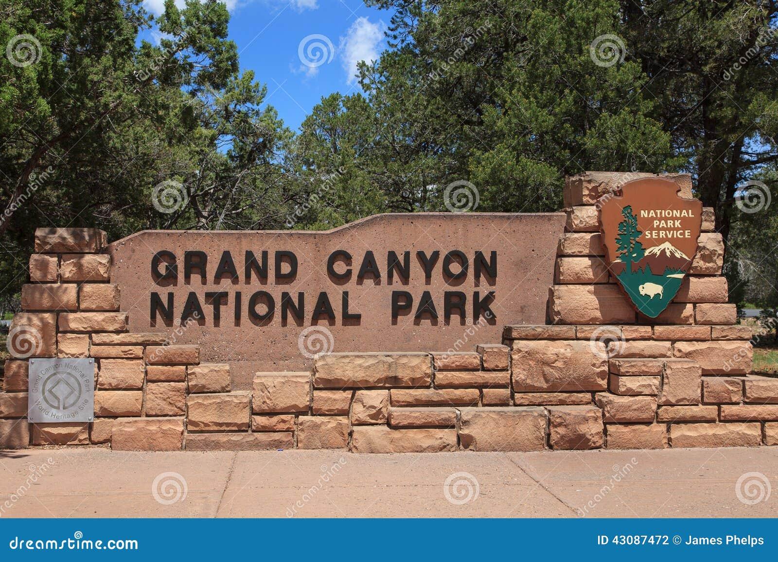 Grand Canyon National Park Entrance Signarizona Stock