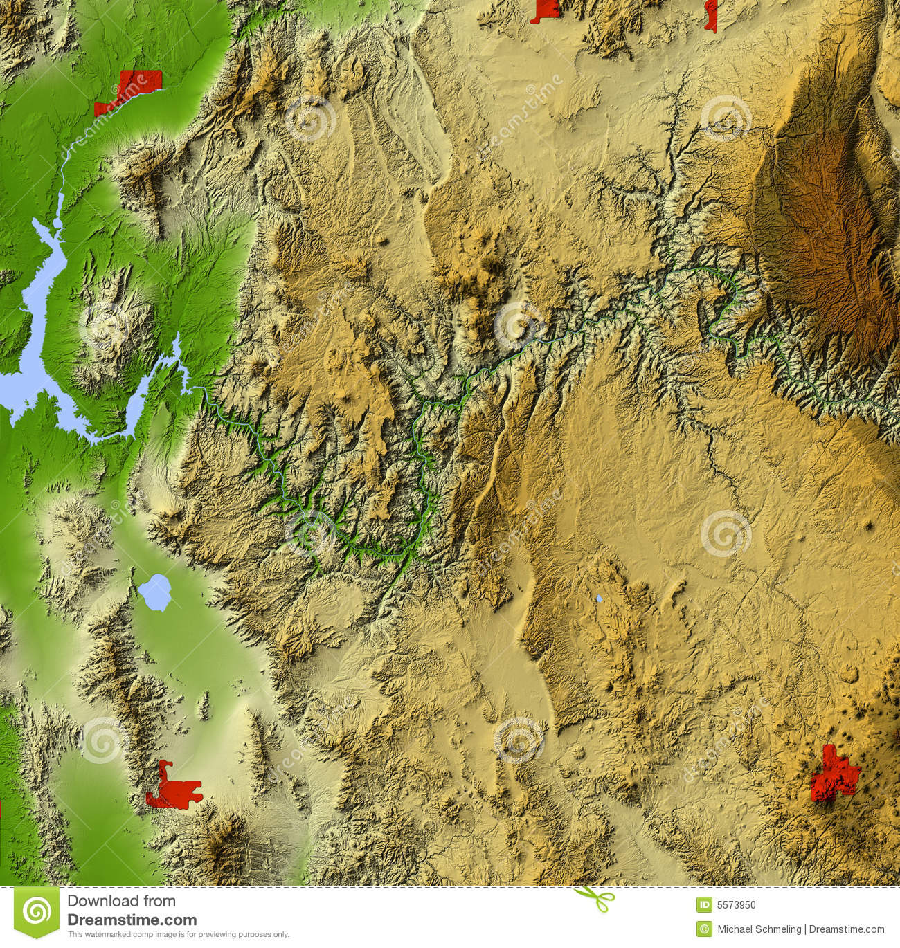 Grand Canyon Relief Map Stock Illustration Illustration Of