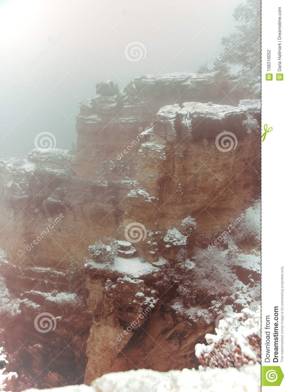 Grand Canyon Winter Snow Storm Misty Cliffs Stock Photo
