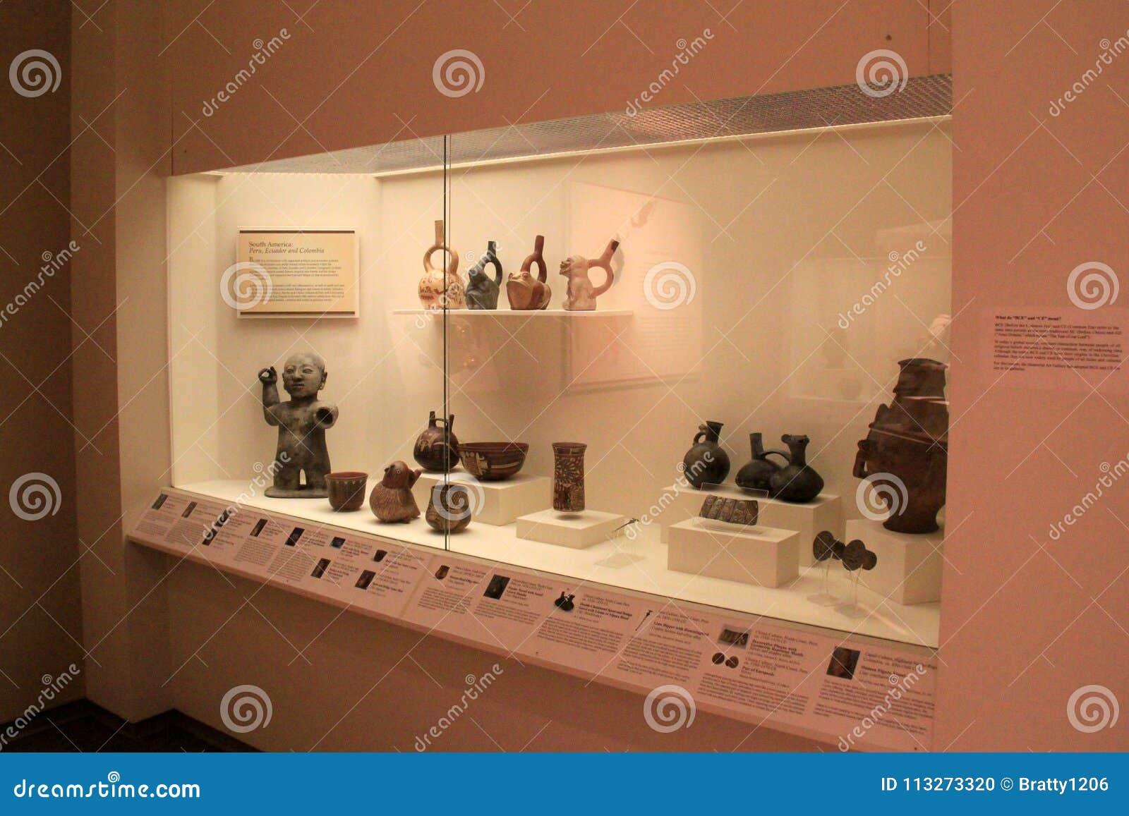 Grand cas en verre avec les objets façonnés historiques, Art Gallery commémoratif, Rochester New York, 2017