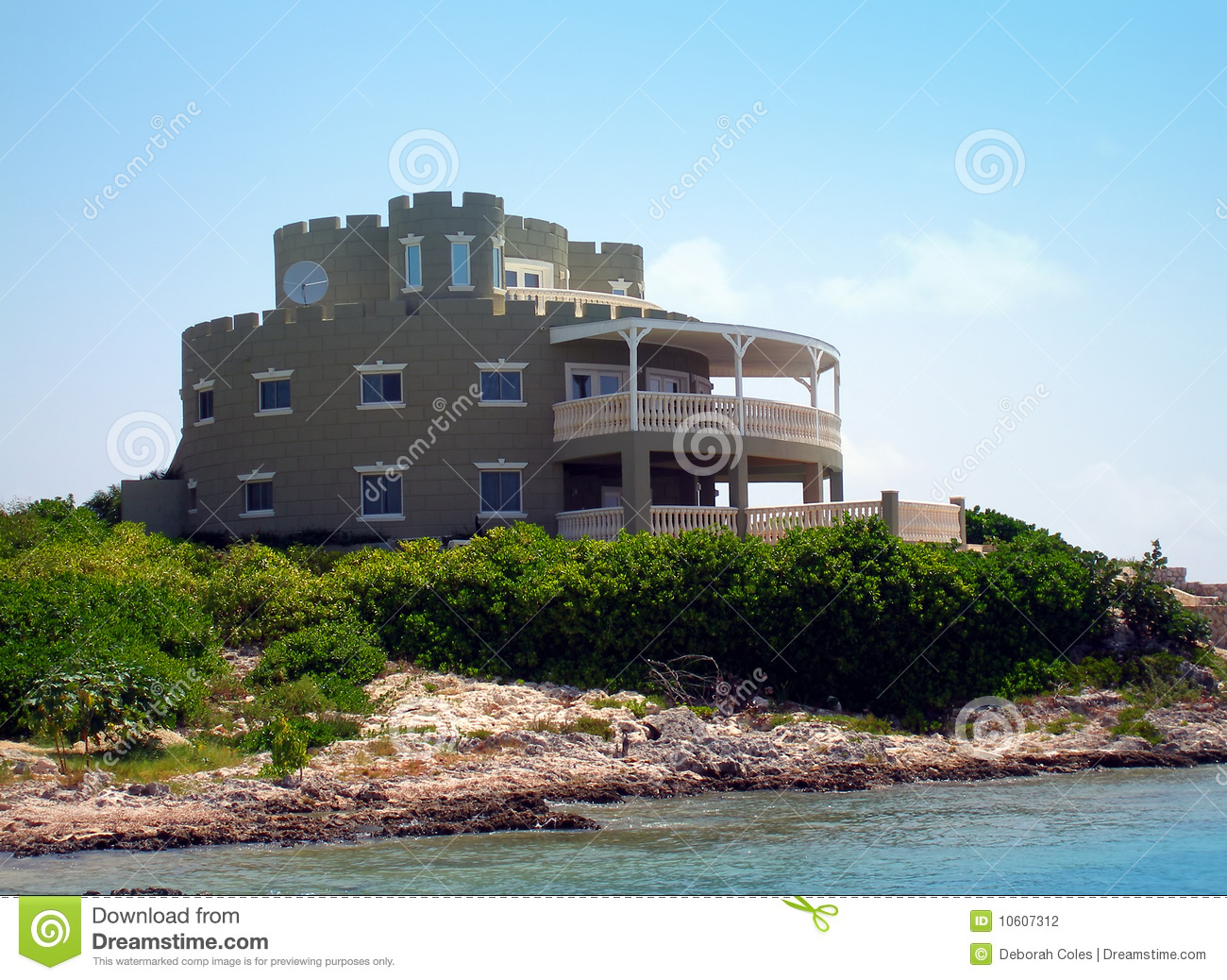 grand castle style home on grand cayman stock photography