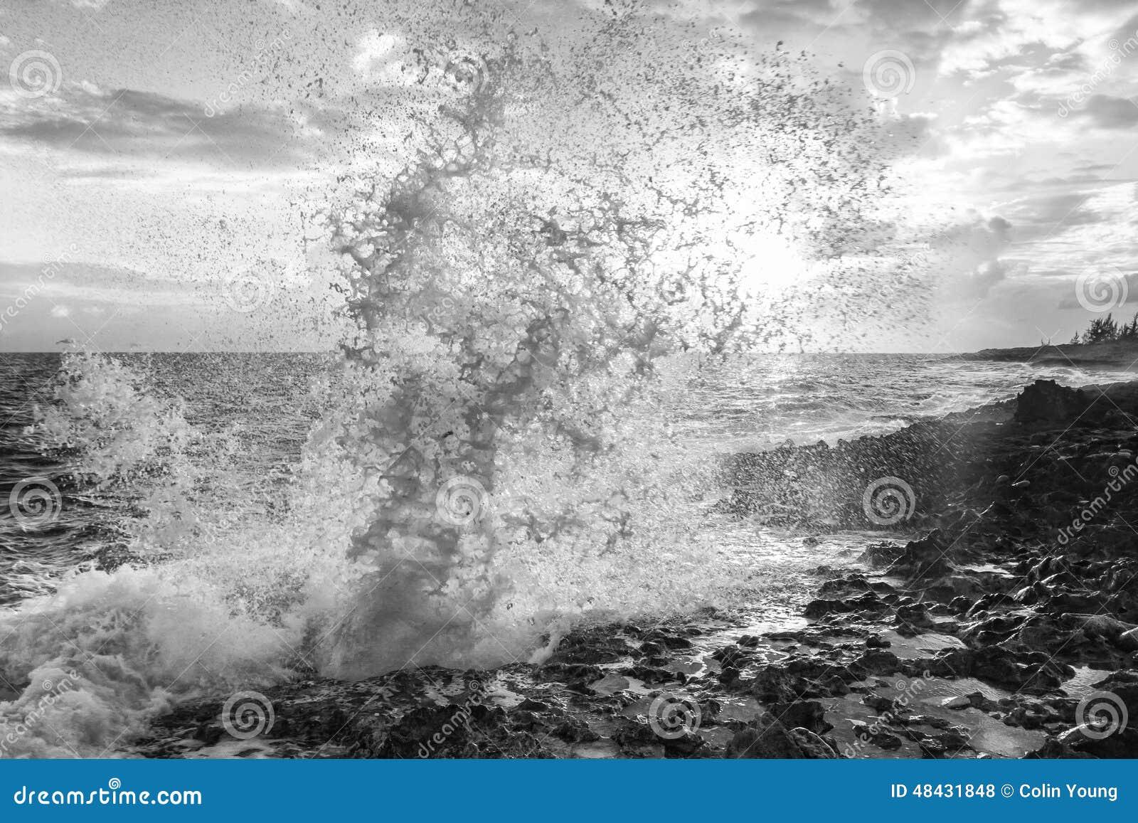 Grand Cayman Blow Hole Sunlit Spray