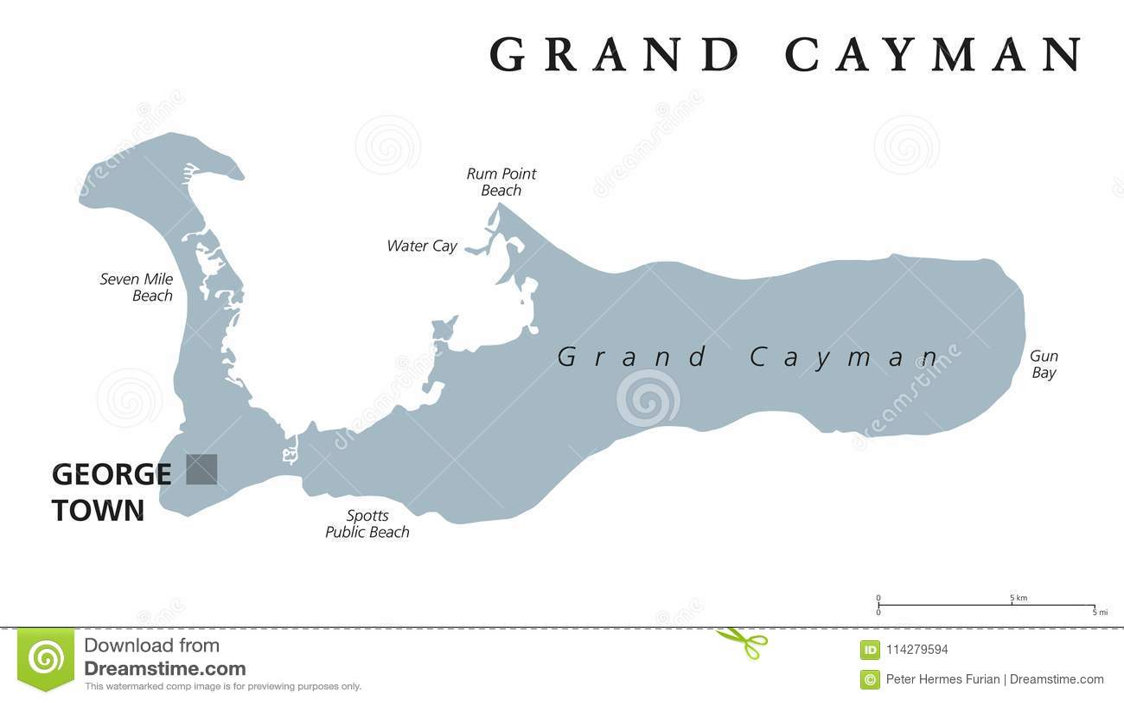 Grand Cayman gray political map