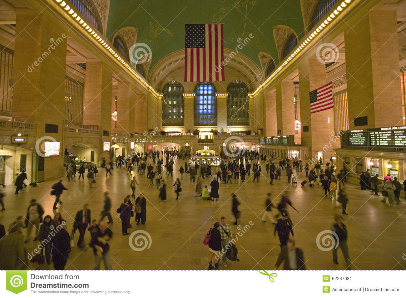 Grand central station panoramic view with american flag at - Grand tableau new york ...