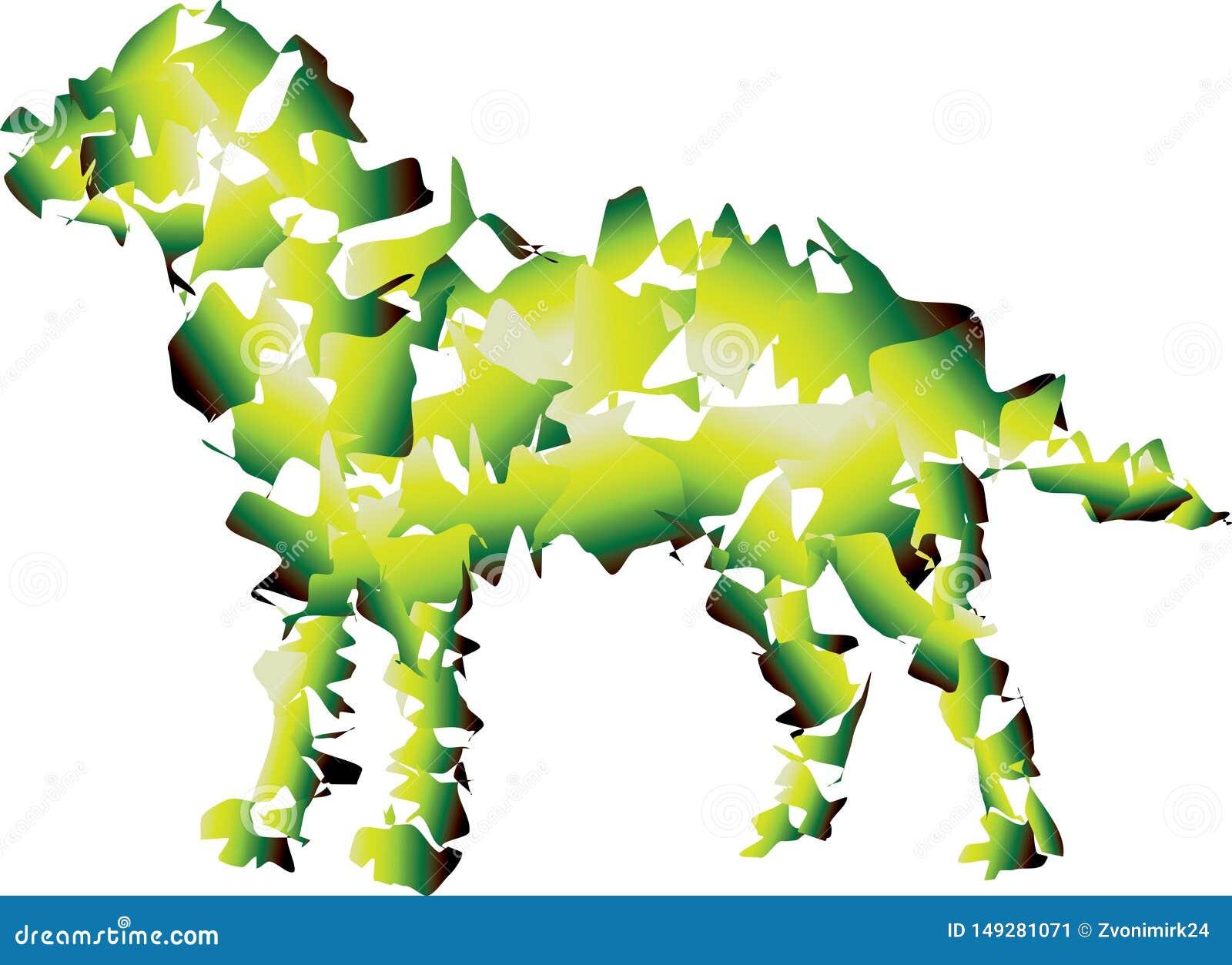 Grand chien lisse Combinaison verte et jaune