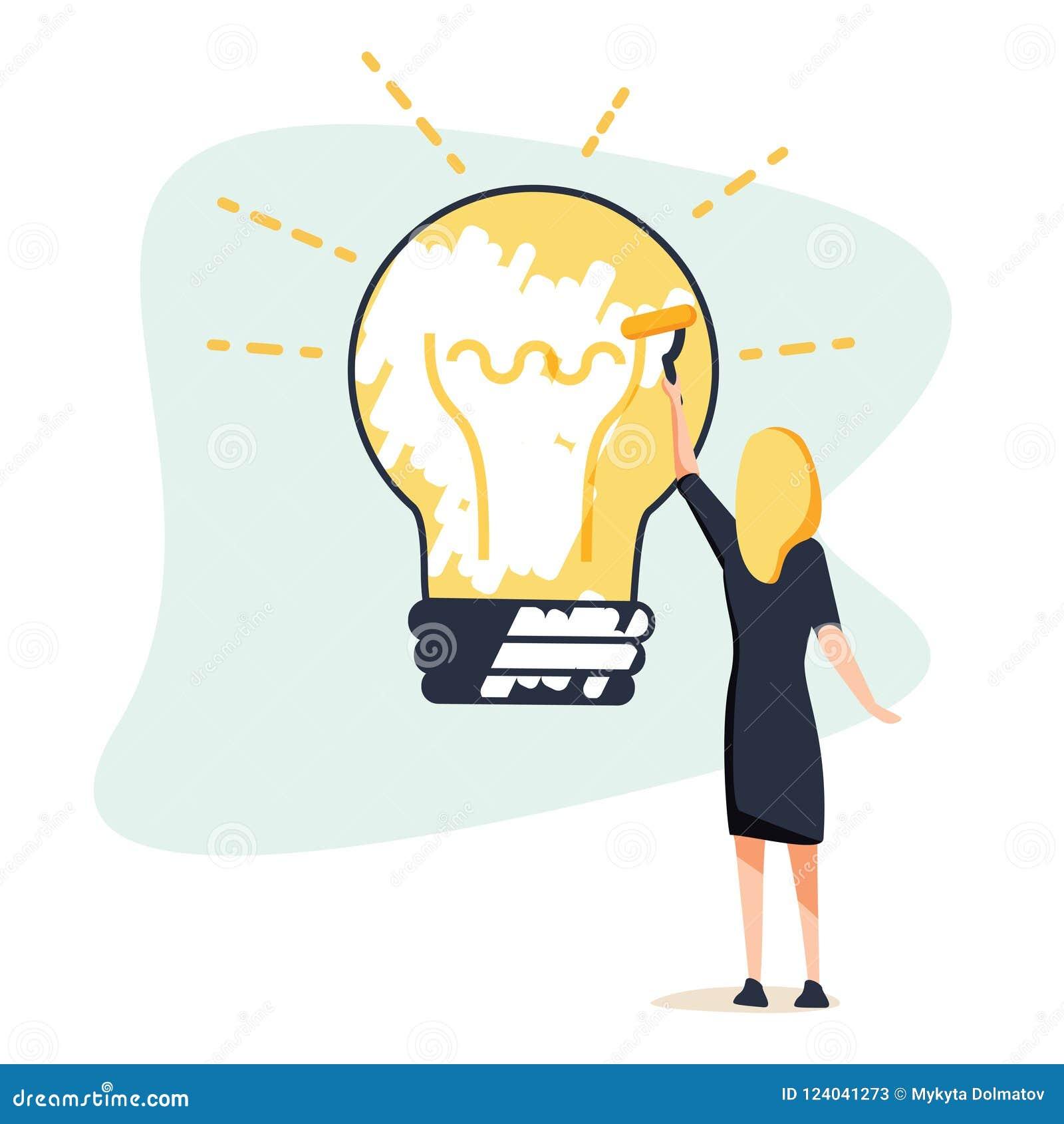 Grand concept d idée La femme d affaires dessine la grande ampoule sur le mur Symbole de nouveaux découvertes et startap Calibre