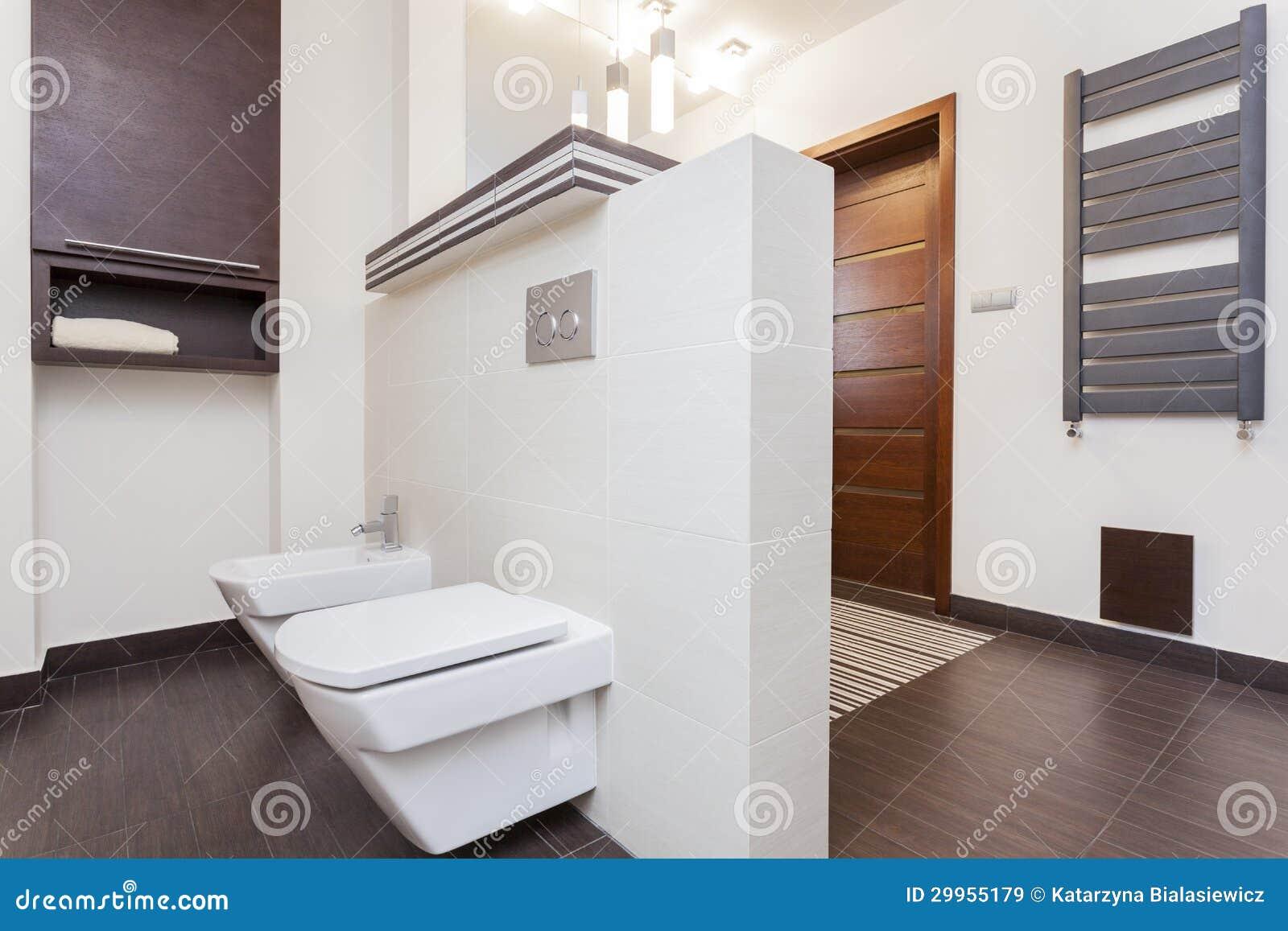 Grand Design - Small Bathroom Stock Image - Image of door, light ...