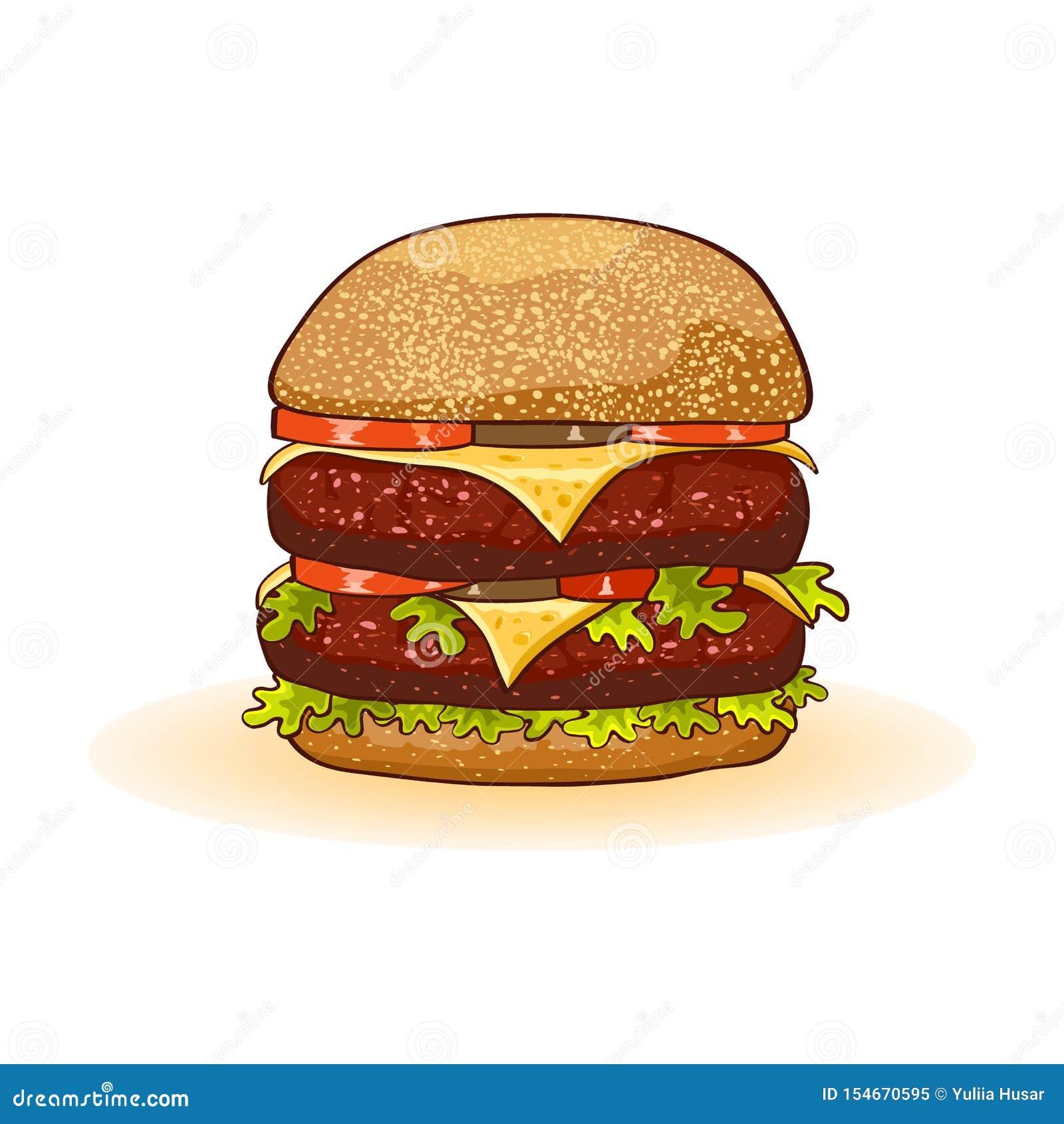 Grand double cheeseburger appétissant avec les petits pâtés de boeuf ou le bifteck, fromage, tomates, conserves au vinaigre, lait