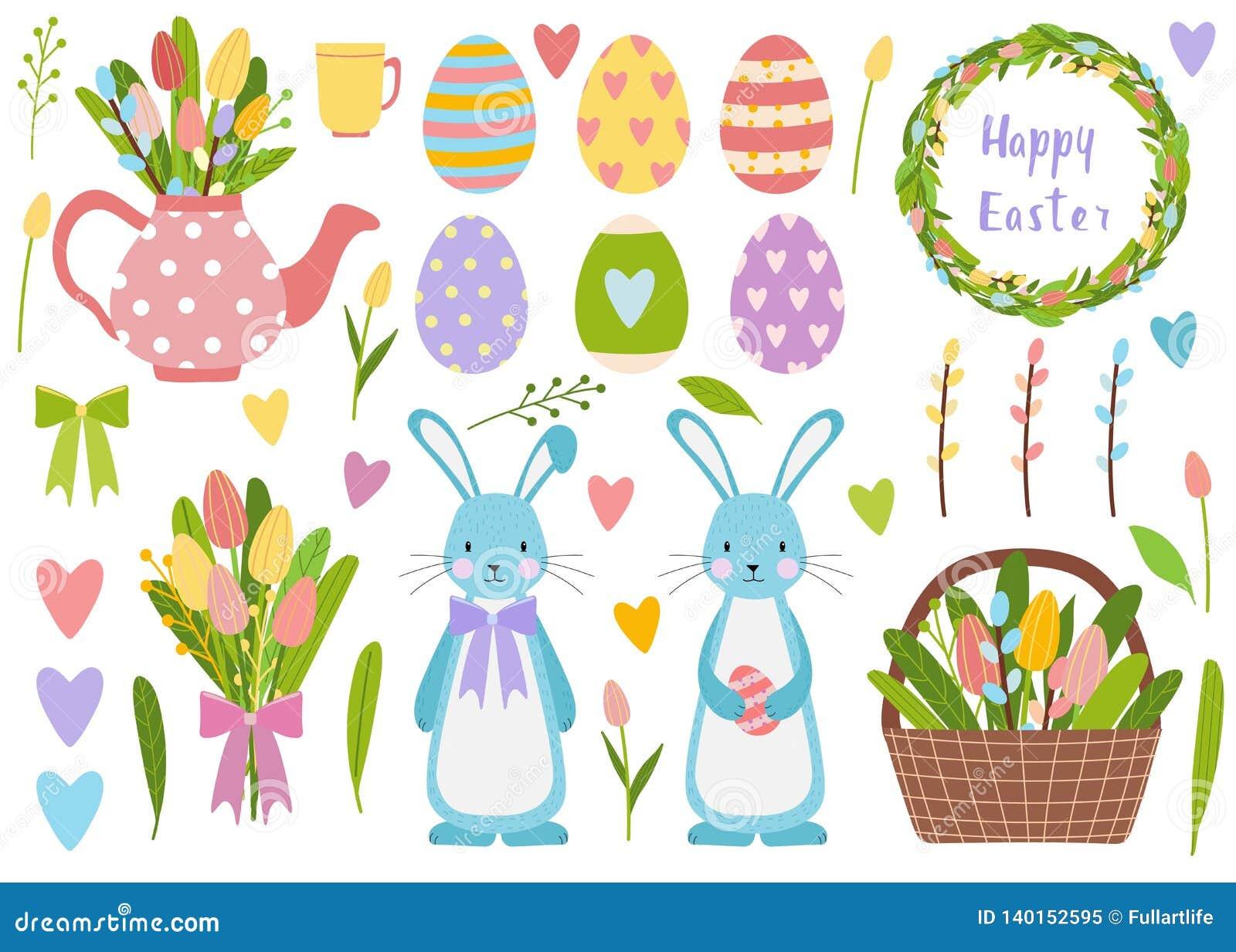 Grand ensemble d éléments Oeufs de pâques de printemps, fleurs de tulipe, seau avec des fleurs et saule Théière mignonne avec le