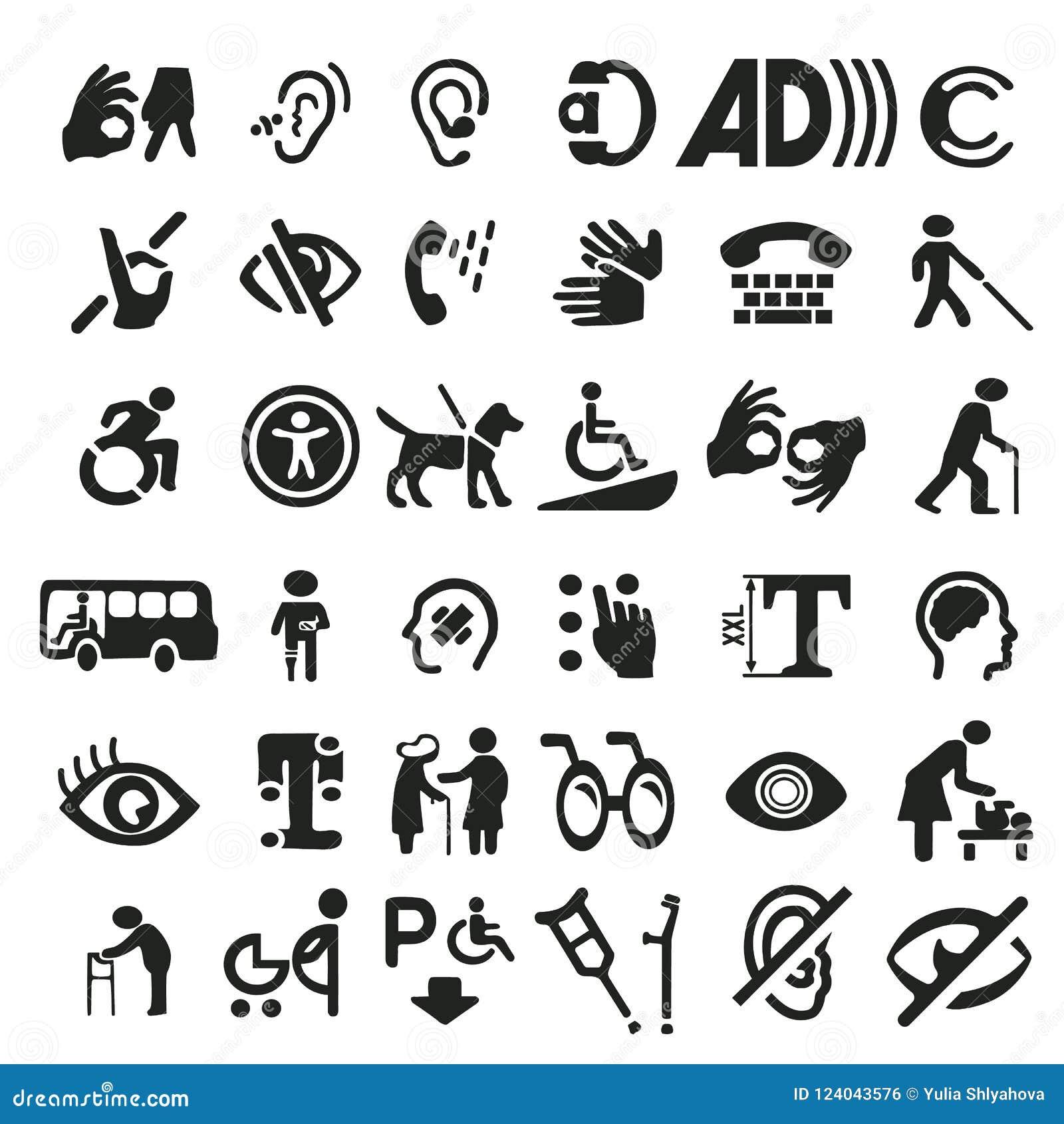 Grand ensemble d icônes d accessibilité avec le signe différent